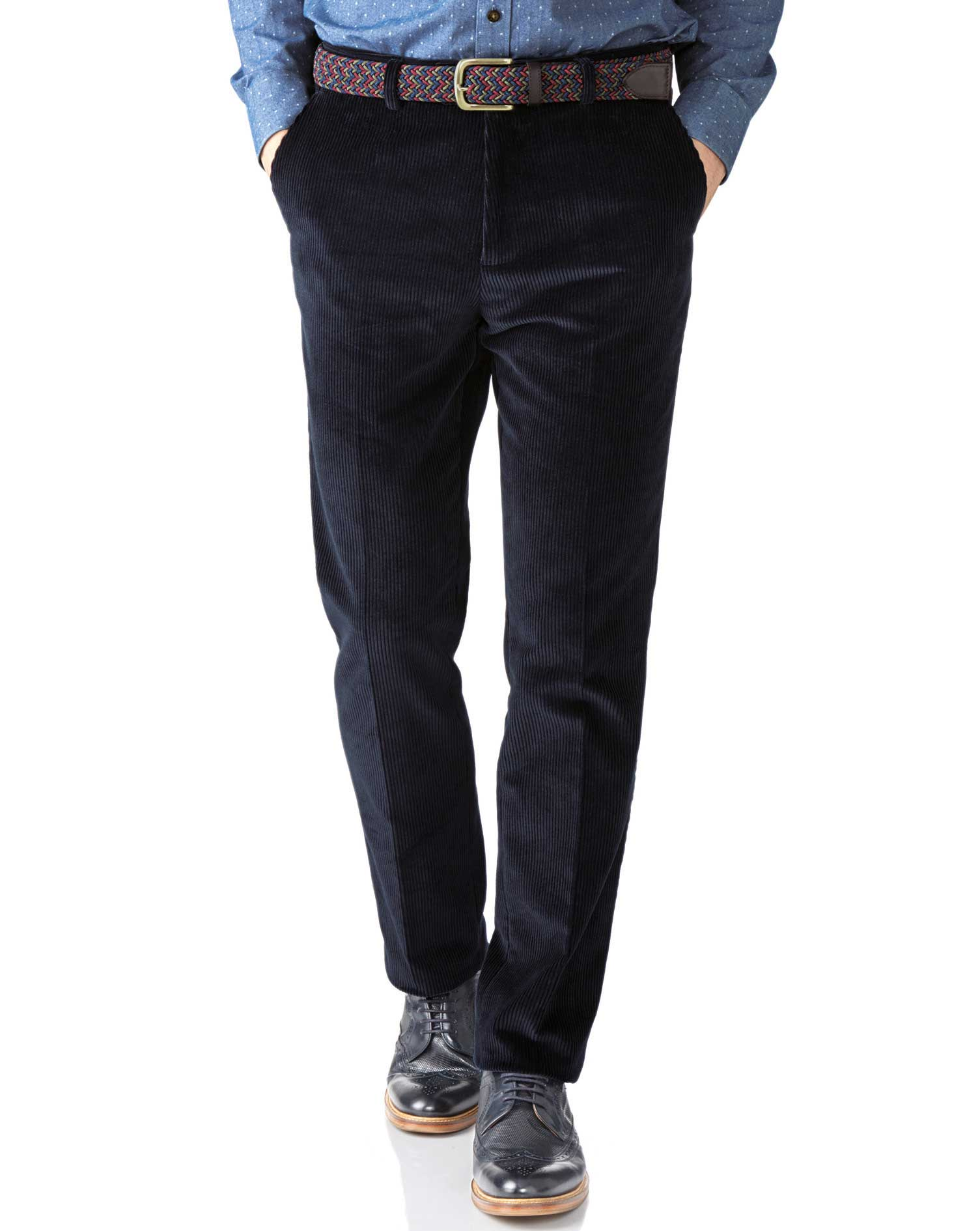 Navy Extra Slim Fit Jumbo Cord Trouser Size W34 L30 by Charles Tyrwhitt