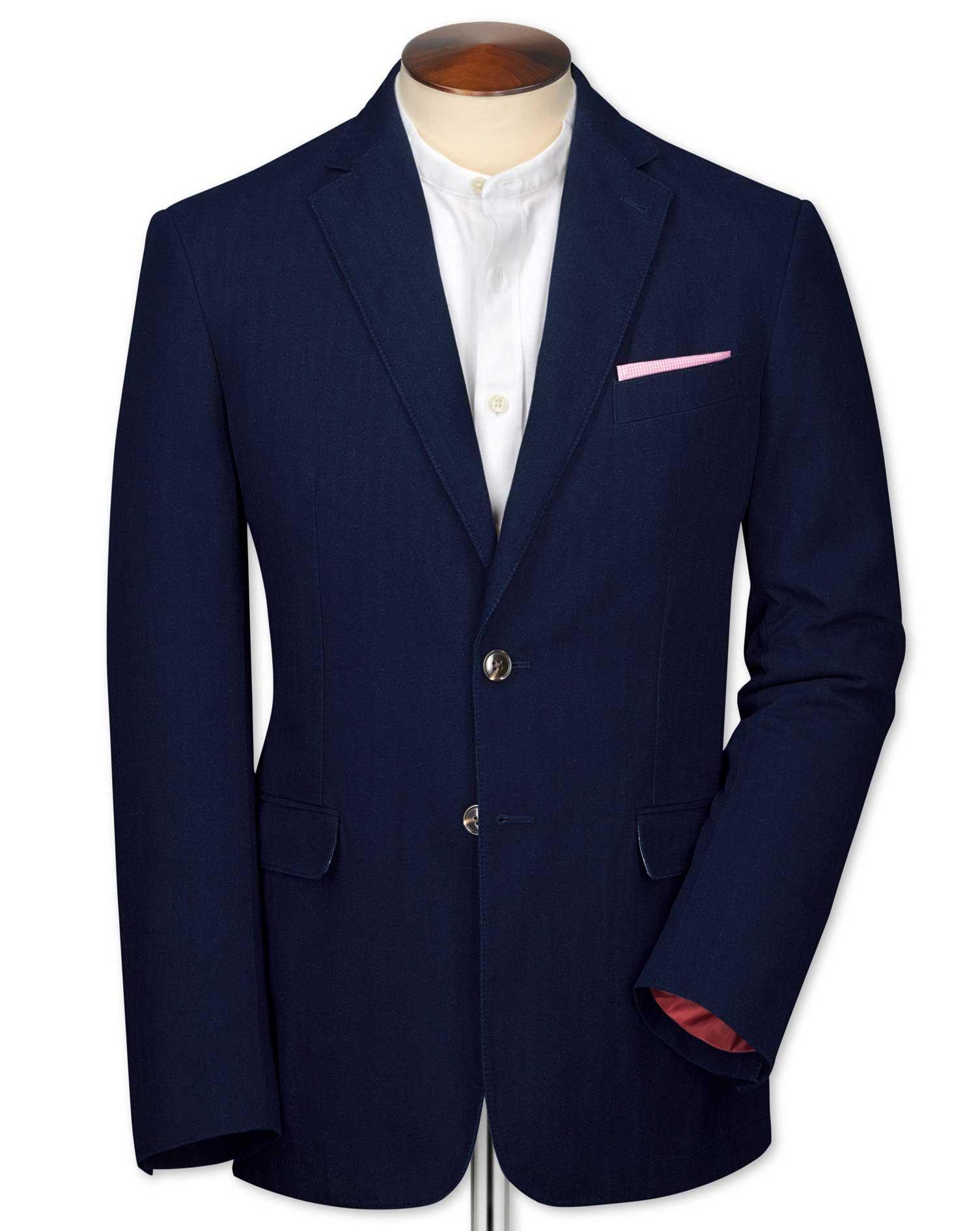 Classic Fit Indigo Herringbone Cotton Jacket Size 44 Regular by Charles Tyrwhitt