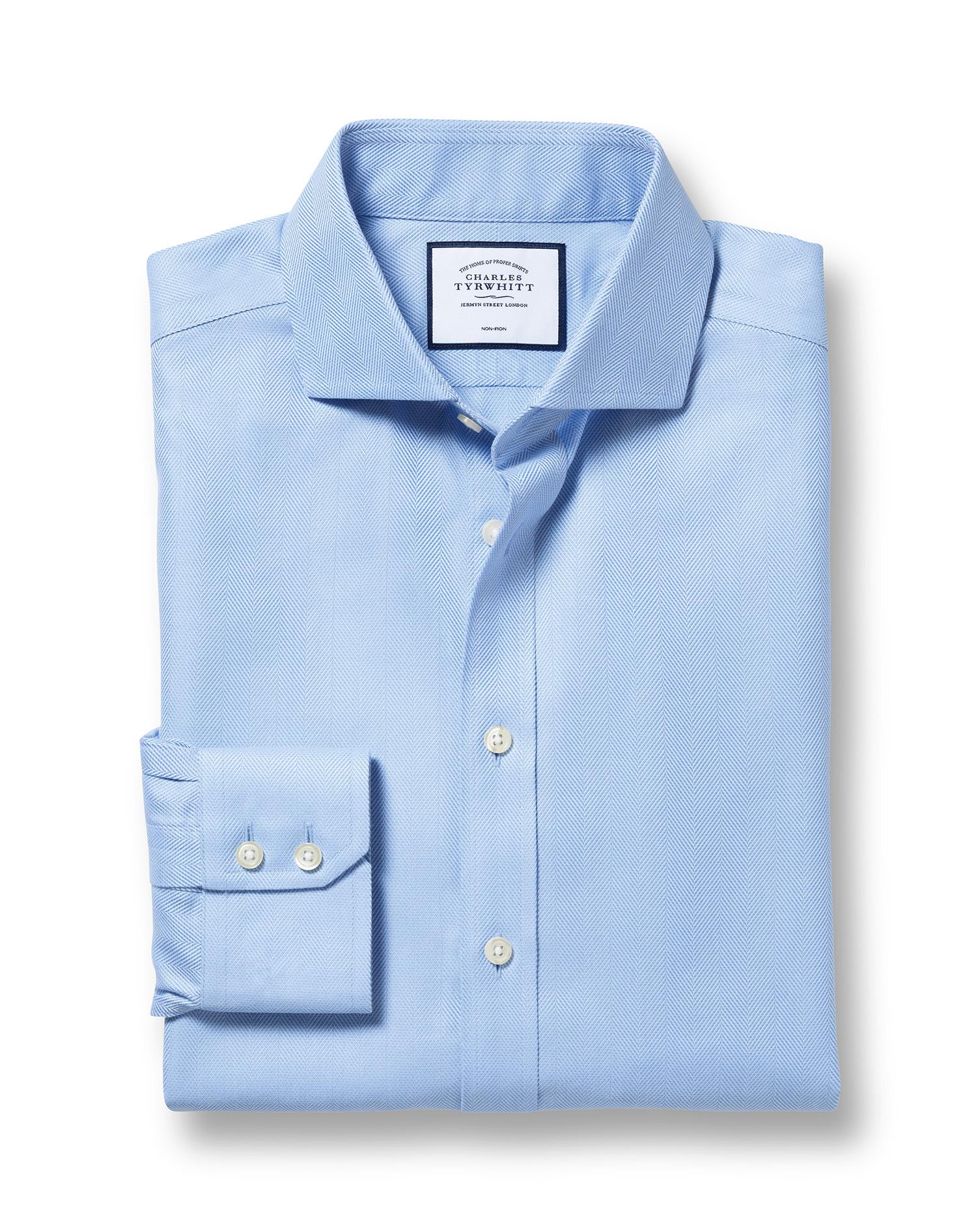 Slim Fit Cutaway Non-Iron Herringbone Sky Blue Cotton Formal Shirt Single Cuff Size 15/35 by Charles