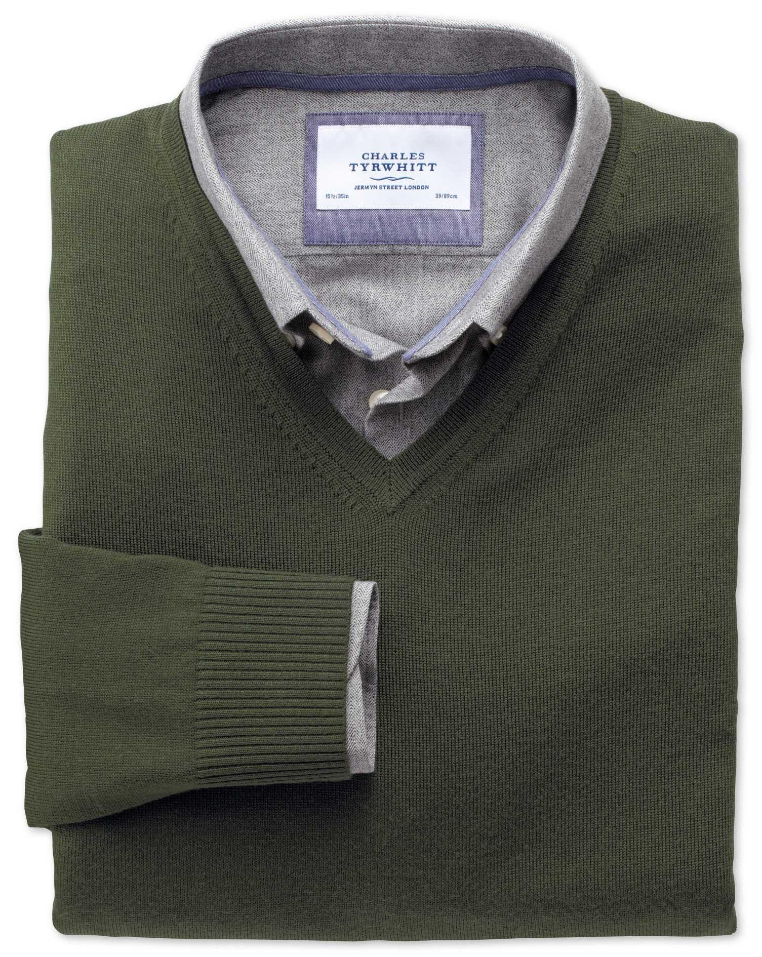 Dark Green Merino V-Neck Wool Jumper Size Small by Charles Tyrwhitt