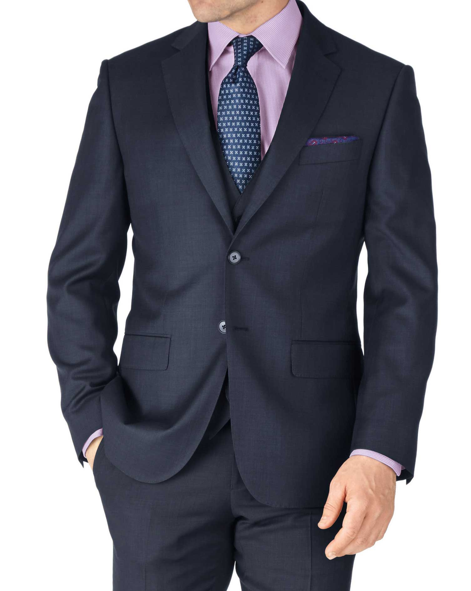Blue Slim Fit Sharkskin Travel Suit Wool Jacket Size 36 Short by Charles Tyrwhitt