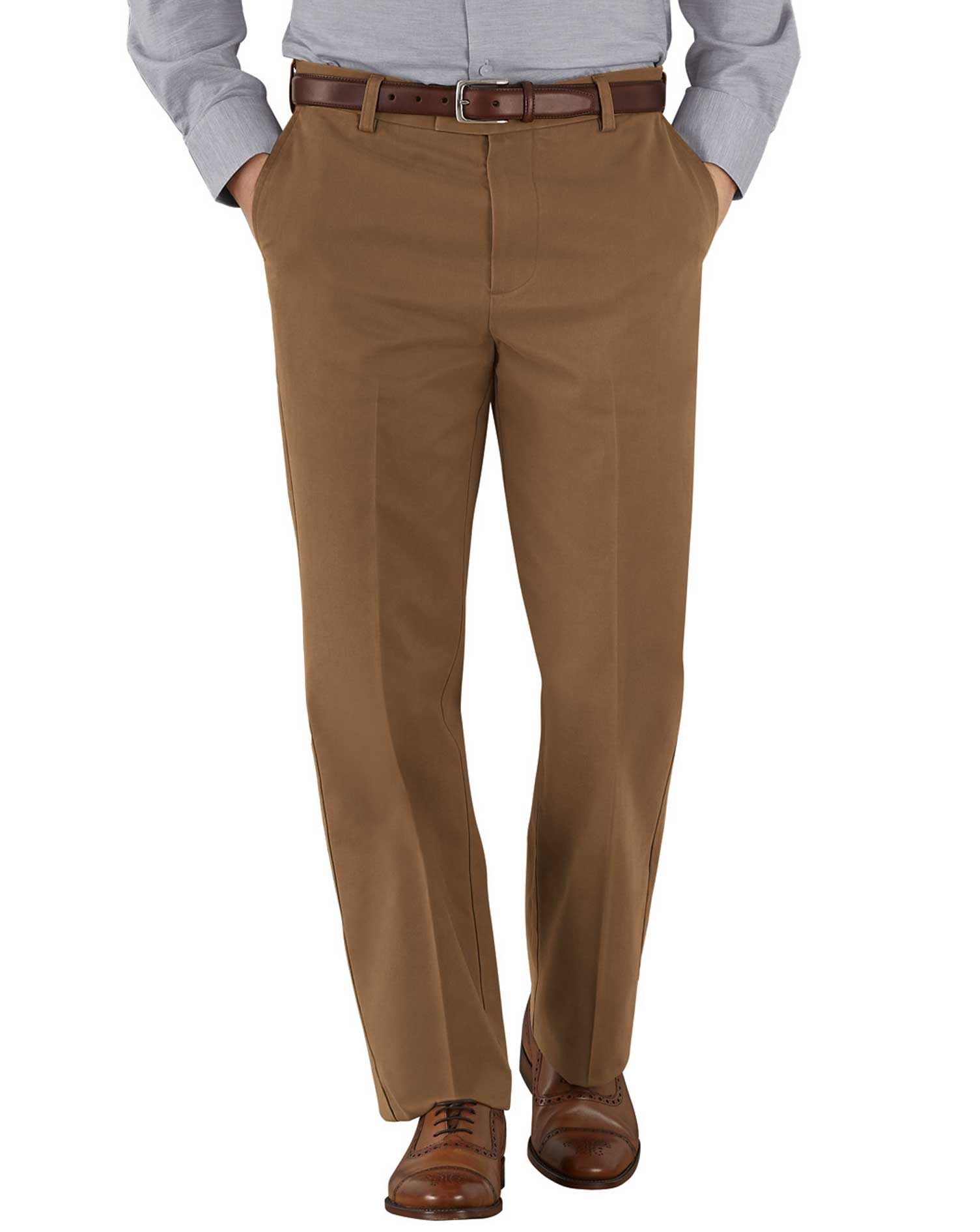 Camel Classic Fit Flat Front Non-Iron Cotton Chino Trousers Size W34 L34 by Charles Tyrwhitt