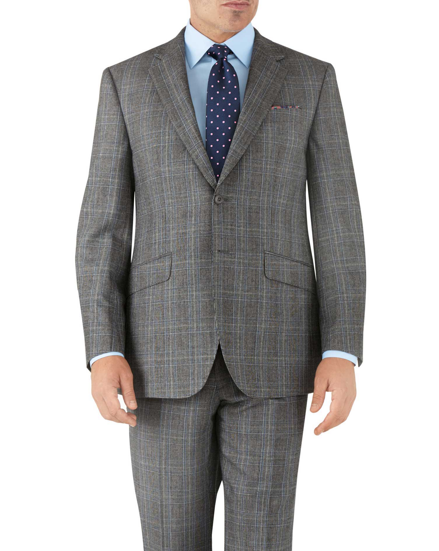 Silver Prince Of Wales Classic Fit Flannel Business Suit Wool Jacket Size 42 Regular by Charles Tyrw