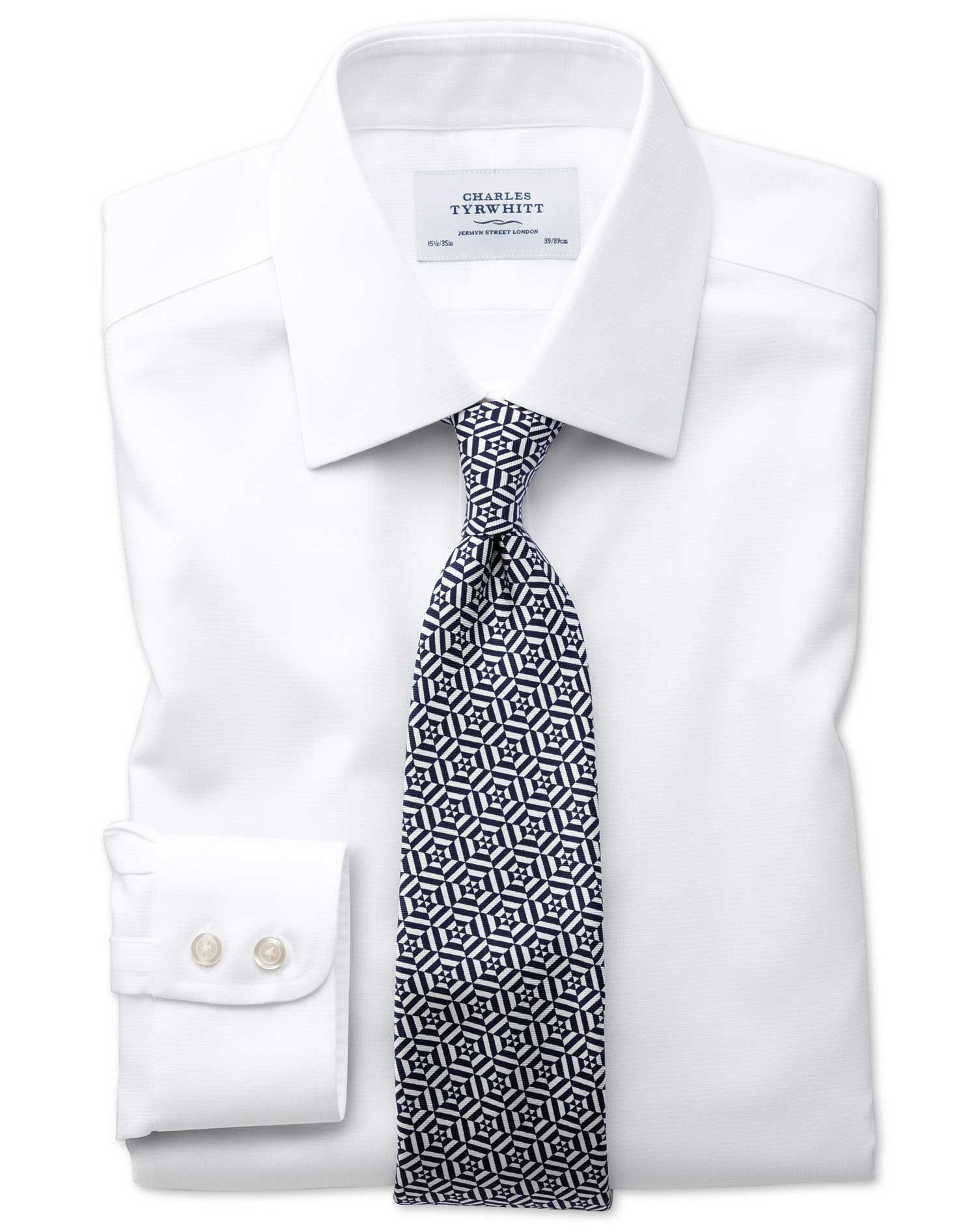Classic Fit Non Iron Square Weave White Shirt Charles