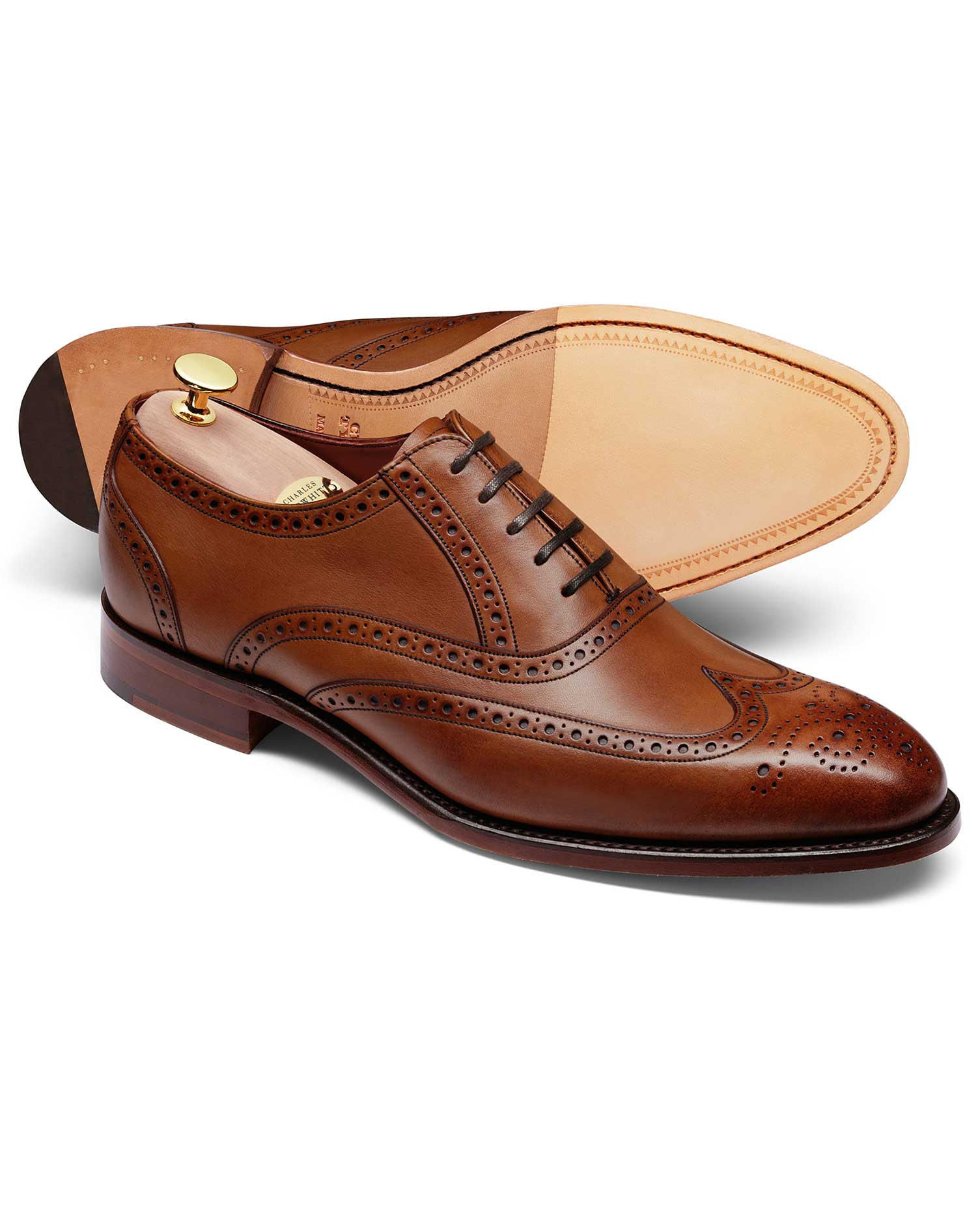Chocolate Ashton Calf Leather Wing Tip Brogue Oxford Shoes Size 9 R by Charles Tyrwhitt