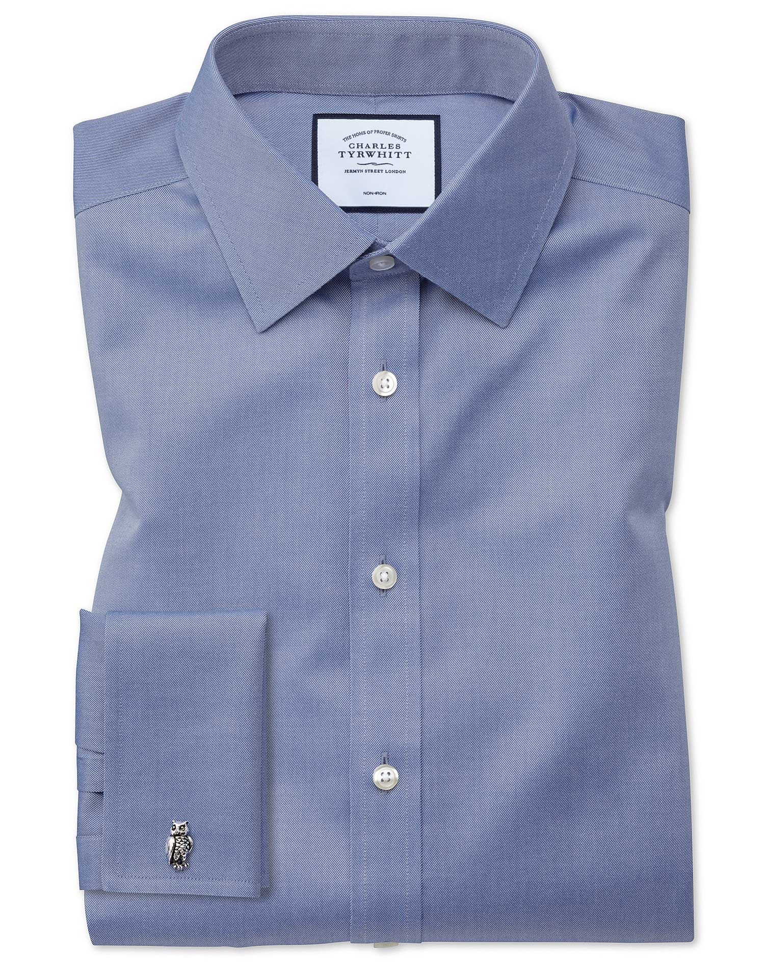 Slim Fit Non-Iron Twill Mid Blue Cotton Formal Shirt Single Cuff Size 17/33 by Charles Tyrwhitt