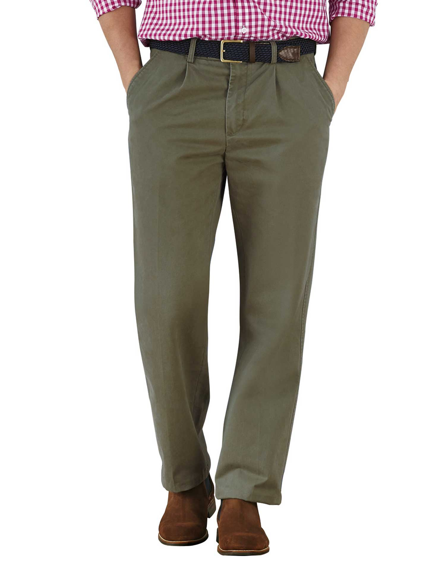 Olive Classic Fit Single Pleat Cotton Chino Trousers Size W36 L38 by Charles Tyrwhitt