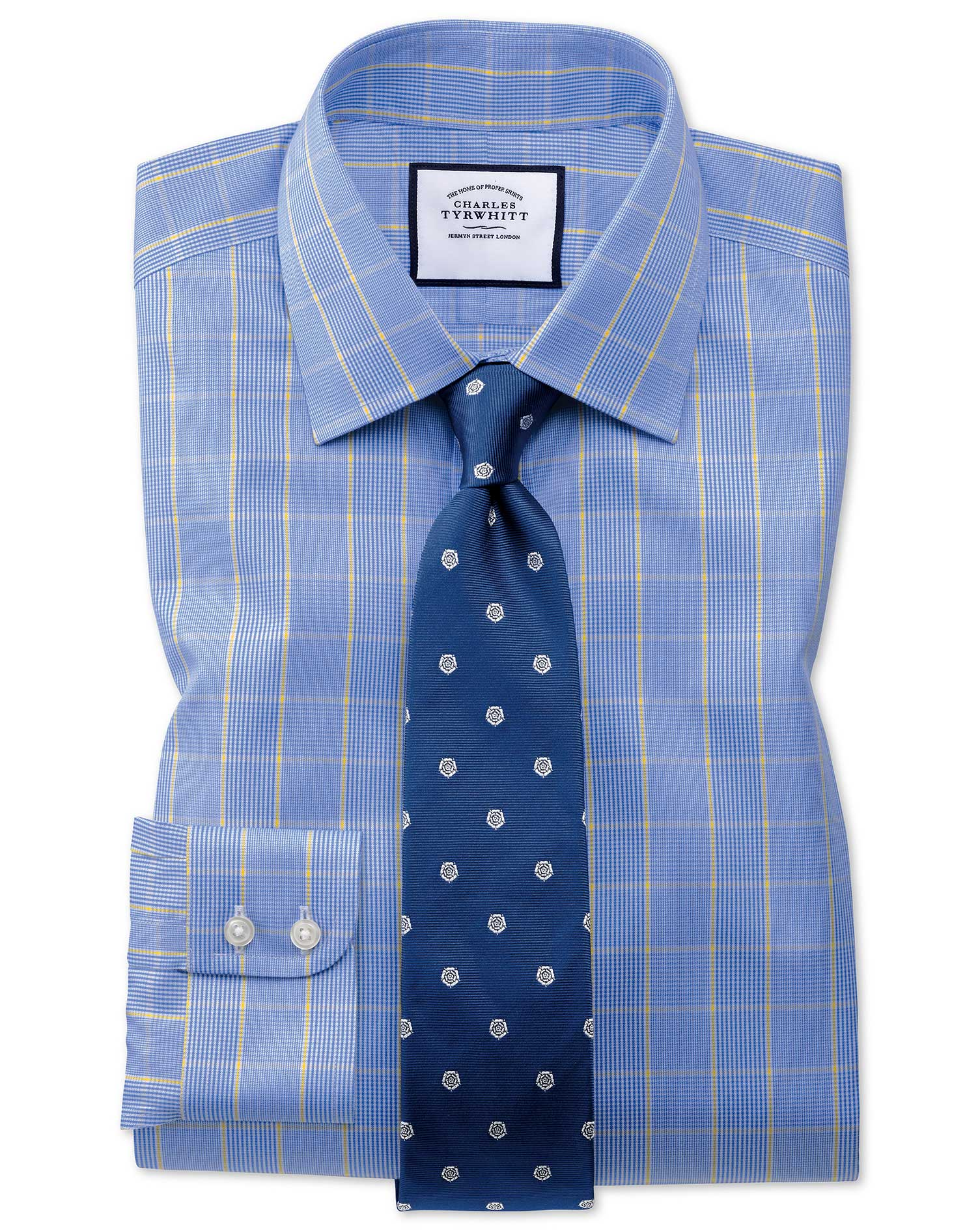 Extra Slim Fit Non-Iron Prince Of Wales Blue and Gold Cotton Formal Shirt Double Cuff Size 17/35 by