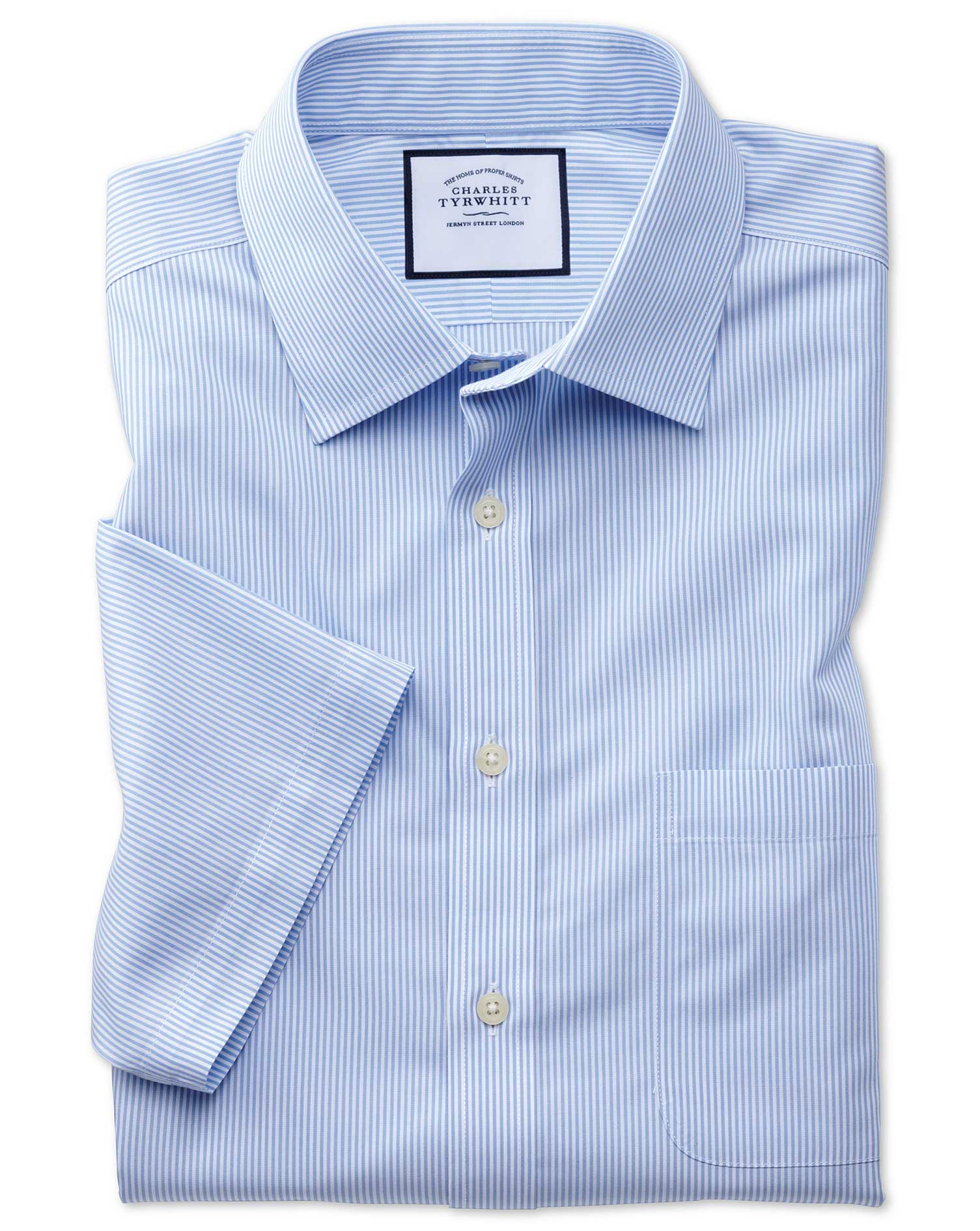 Slim Fit Non-Iron Bengal Stripe Short Sleeve Sky Cotton Formal Shirt Size 16.5/Short by Charles Tyrw