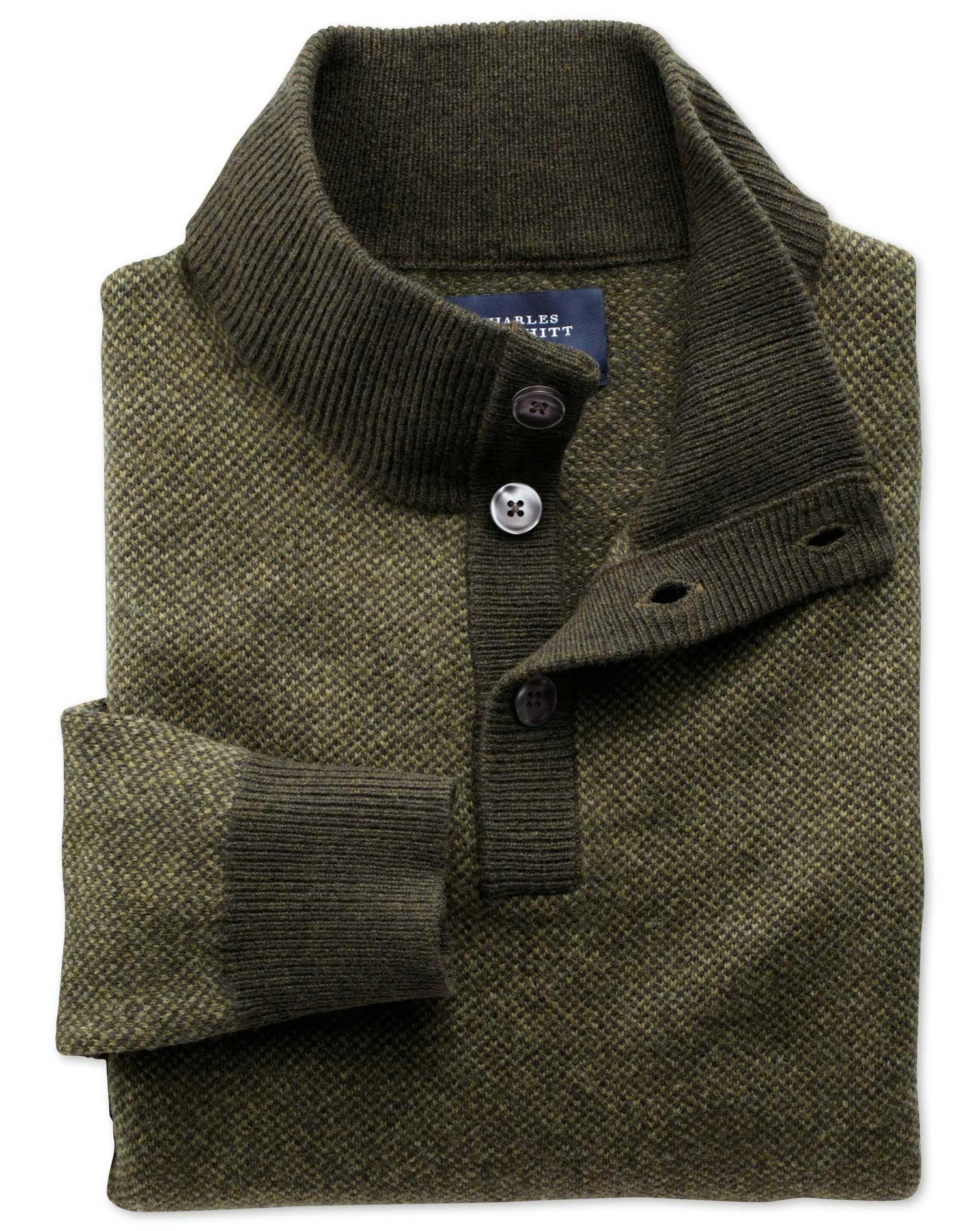 Khaki Jacquard Button Neck Wool Jumper Size XL by Charles Tyrwhitt
