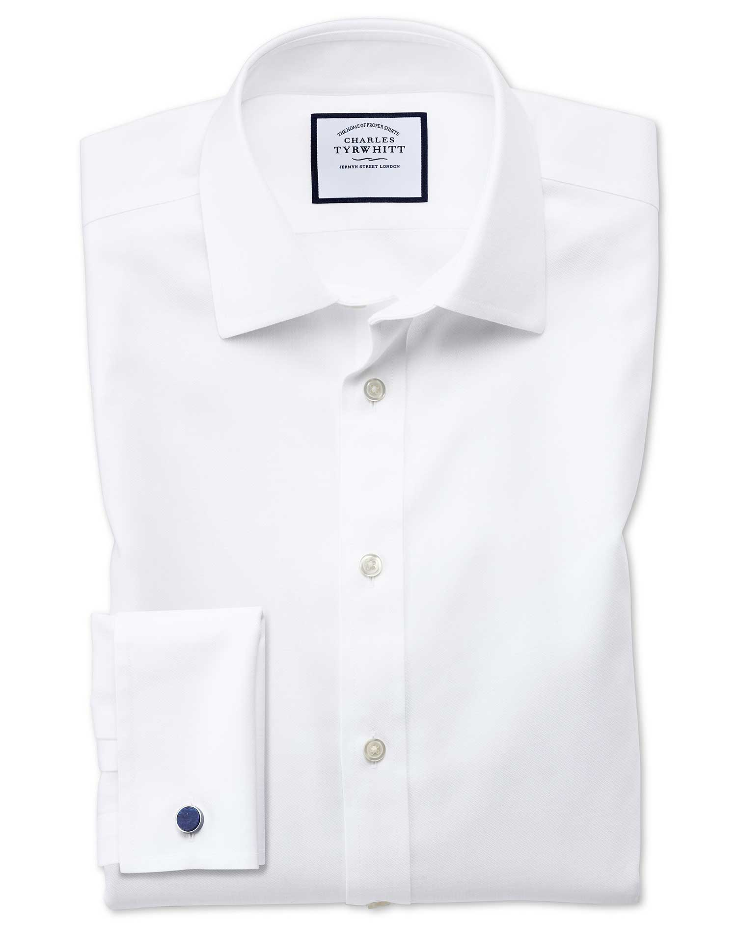 Slim Fit Non-Iron Step Weave White Cotton Formal Shirt Double Cuff Size 18/35 by Charles Tyrwhitt