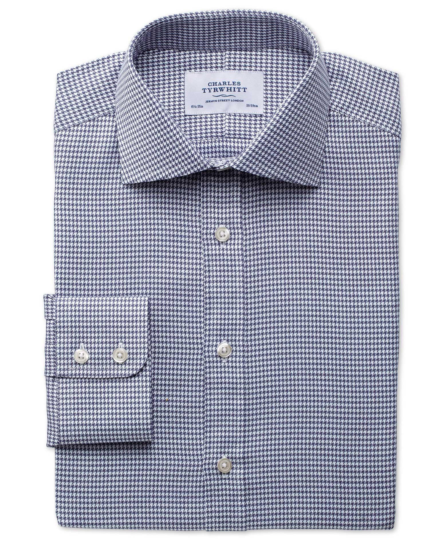 Extra Slim Fit Semi-Cutaway Collar Melange Puppytooth Indigo Cotton Formal Shirt Single Cuff Size 16