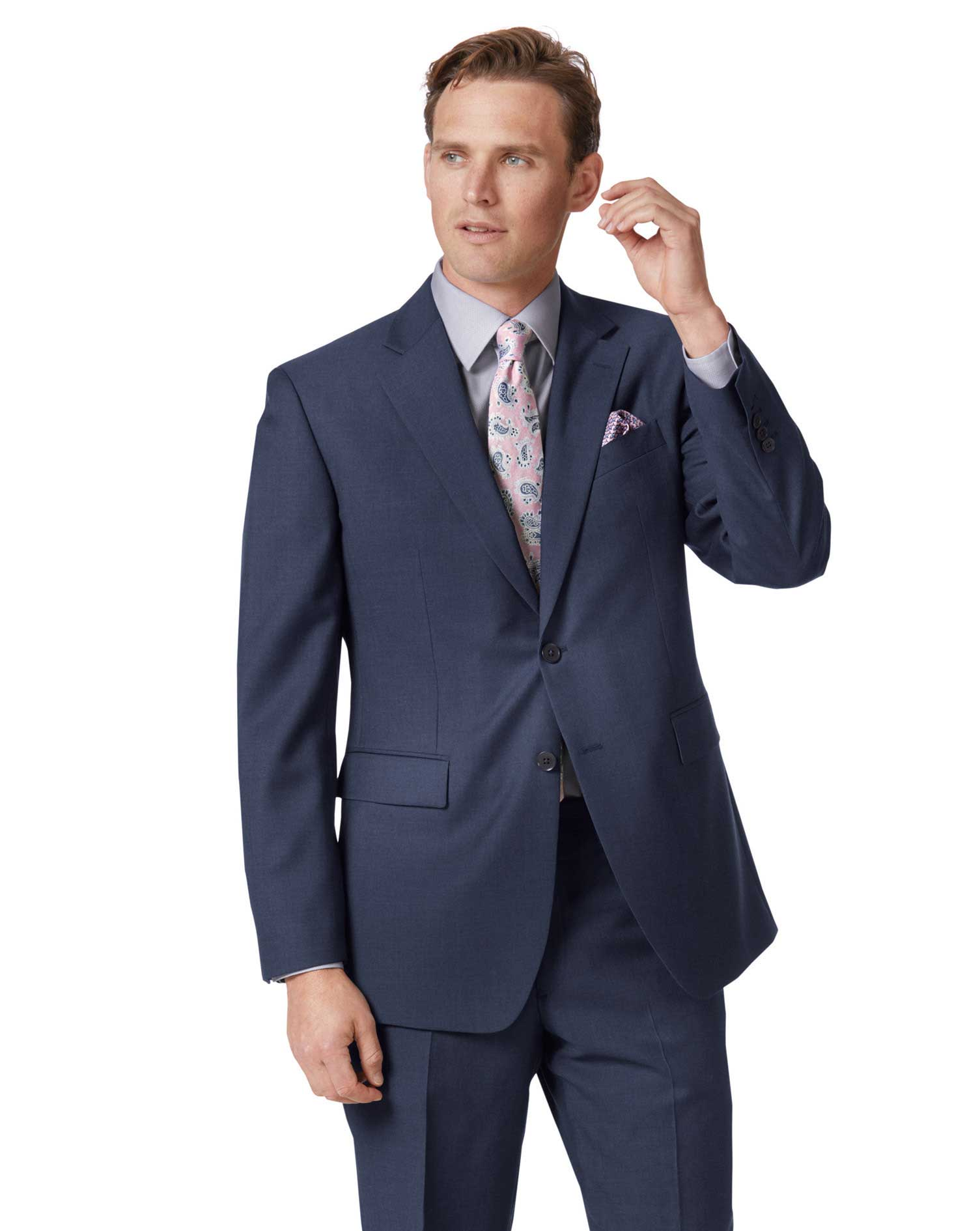 Mid Blue Classic Fit Twill Business Suit Wool Jacket Size 38 Short by Charles Tyrwhitt