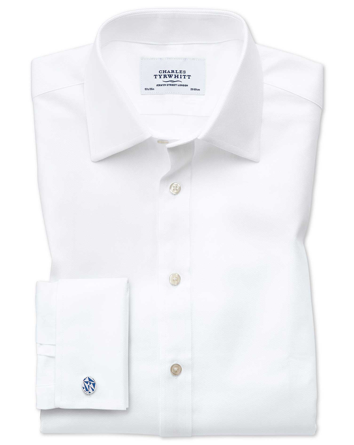 Slim Fit Egyptian Cotton Cavalry Twill White Formal Shirt Double Cuff Size 15/35 by Charles Tyrwhitt
