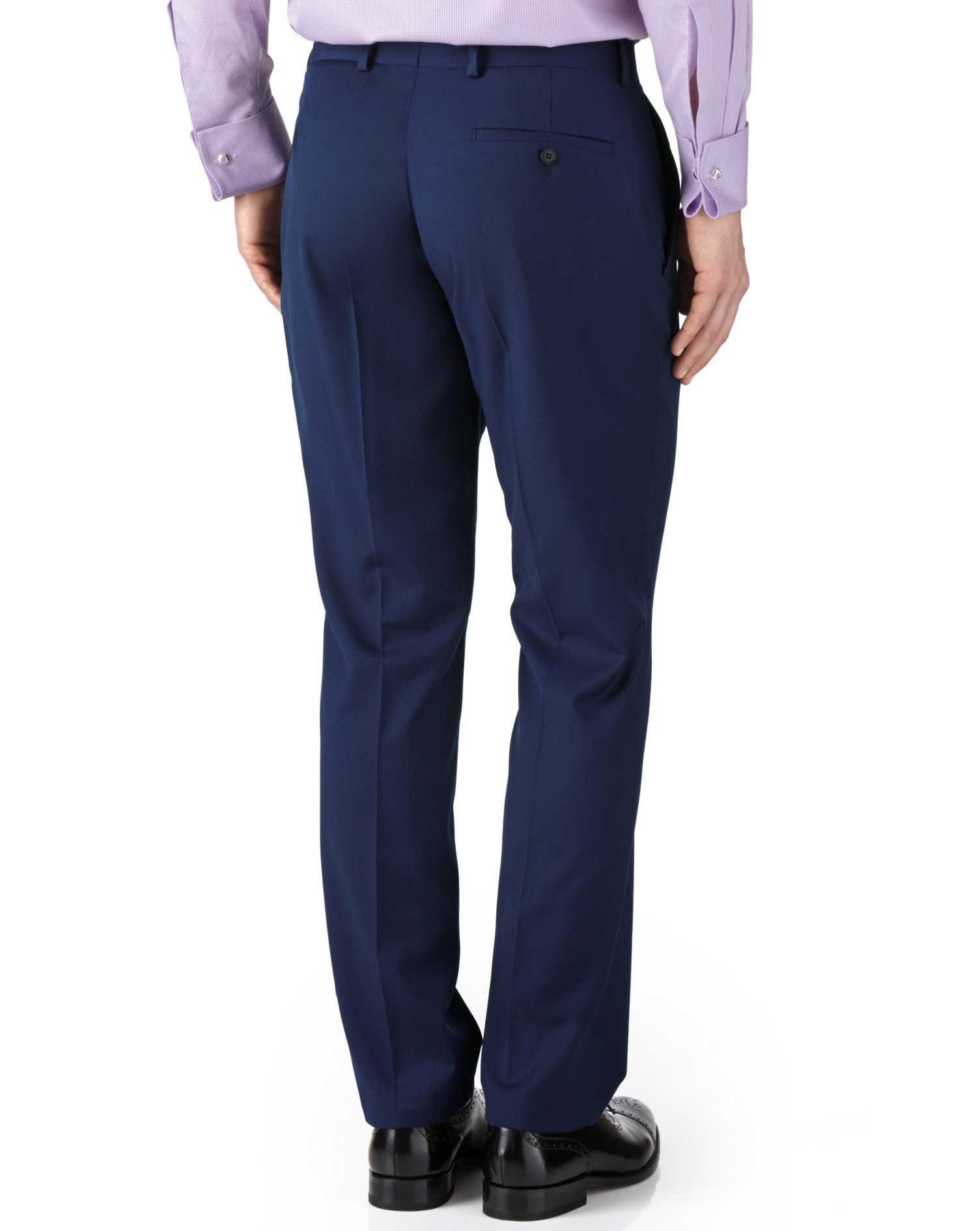 Royal blue classic fit twill business suit pants