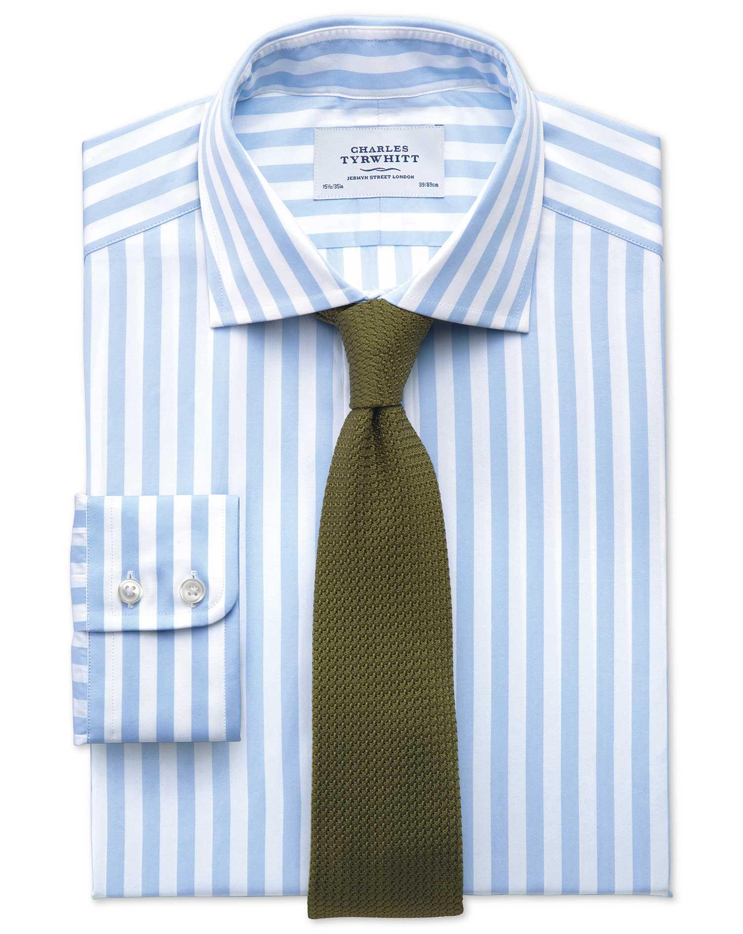 Classic fit semi cutaway collar egyptian cotton stripe sky for Semi spread collar shirt