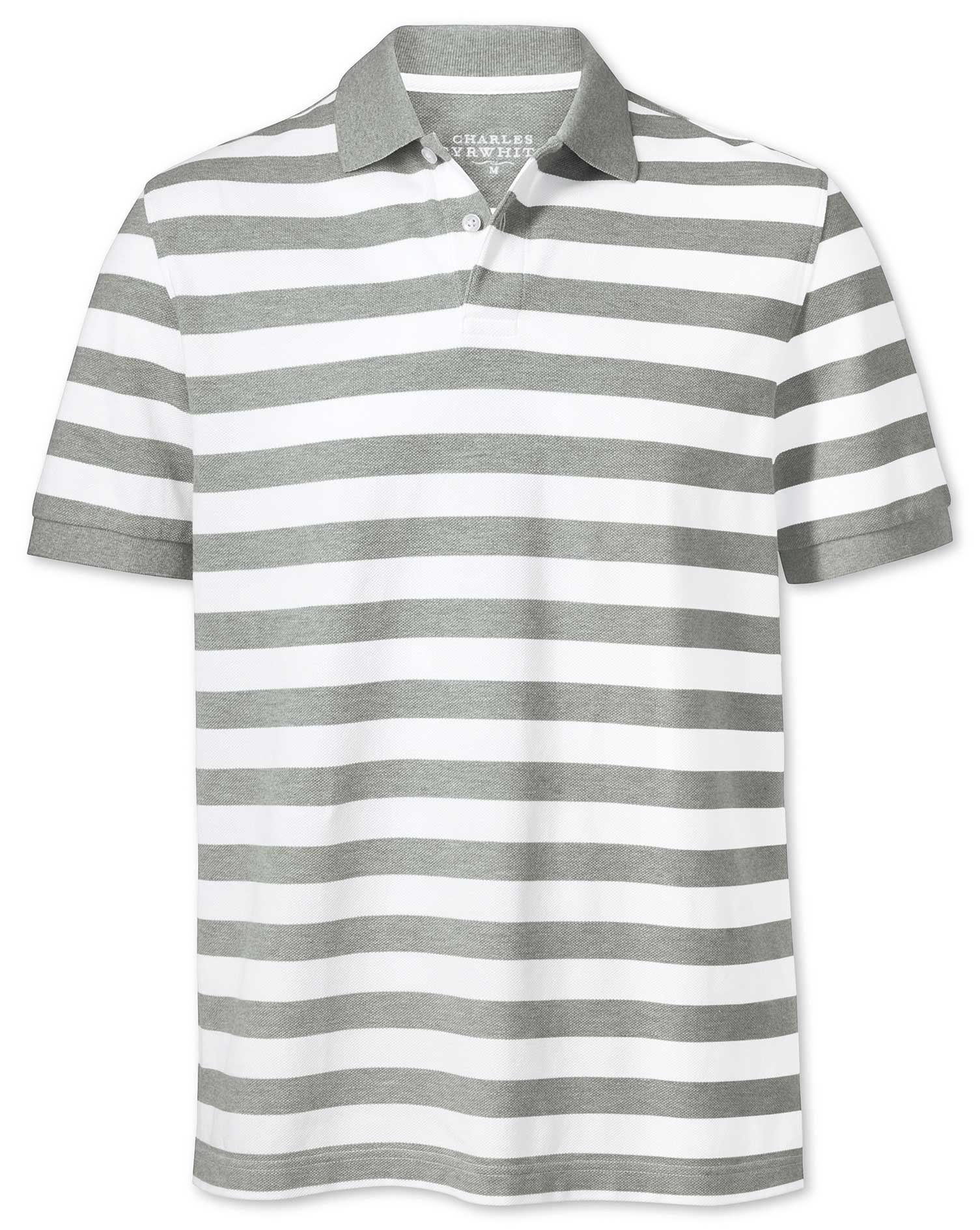 Grey and White Stripe Pique Cotton Polo Size Large by Charles Tyrwhitt