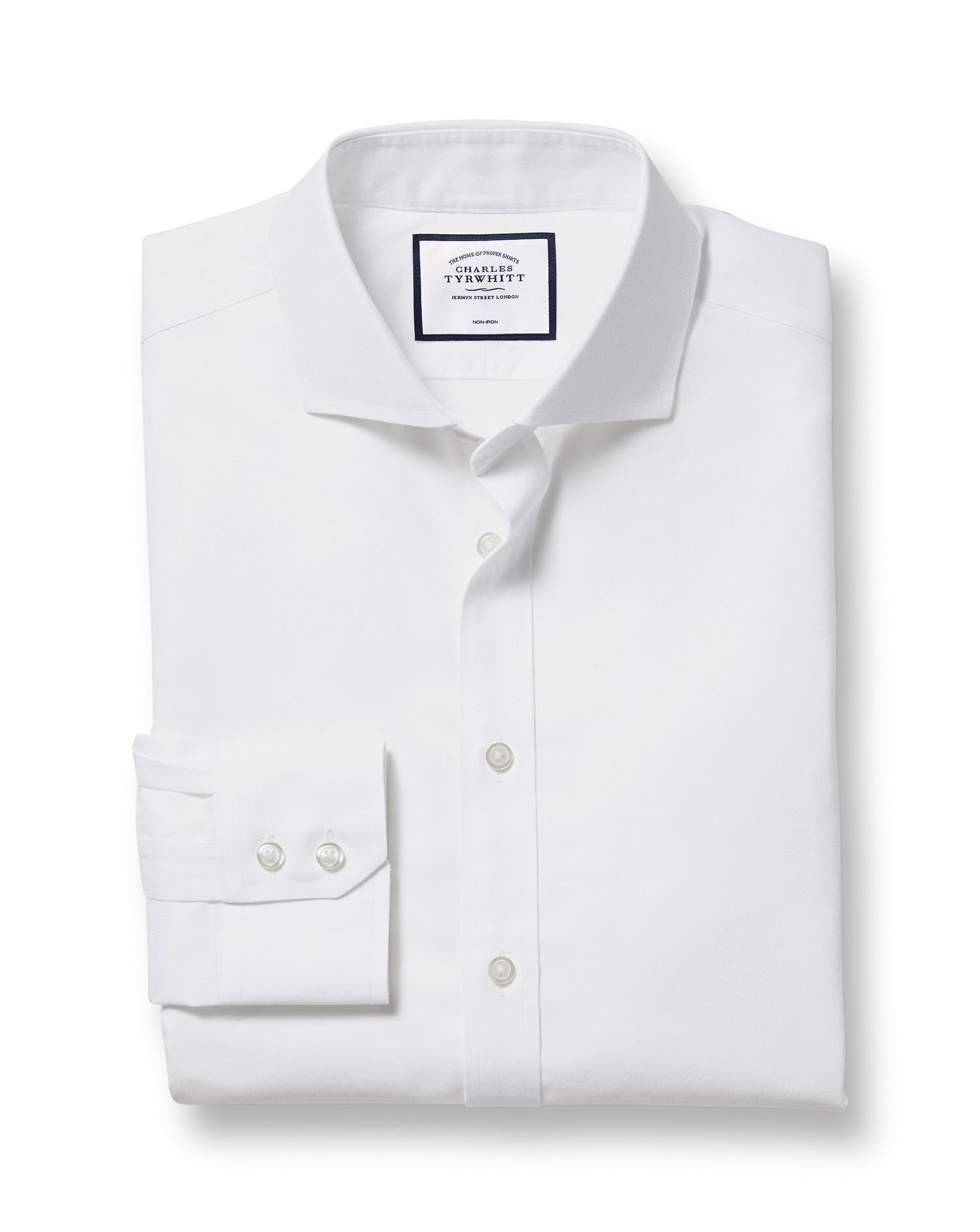 Slim Fit Extreme Cutaway Non-Iron Twill White Cotton Formal Shirt Single Cuff Size 17.5/36 by Charle