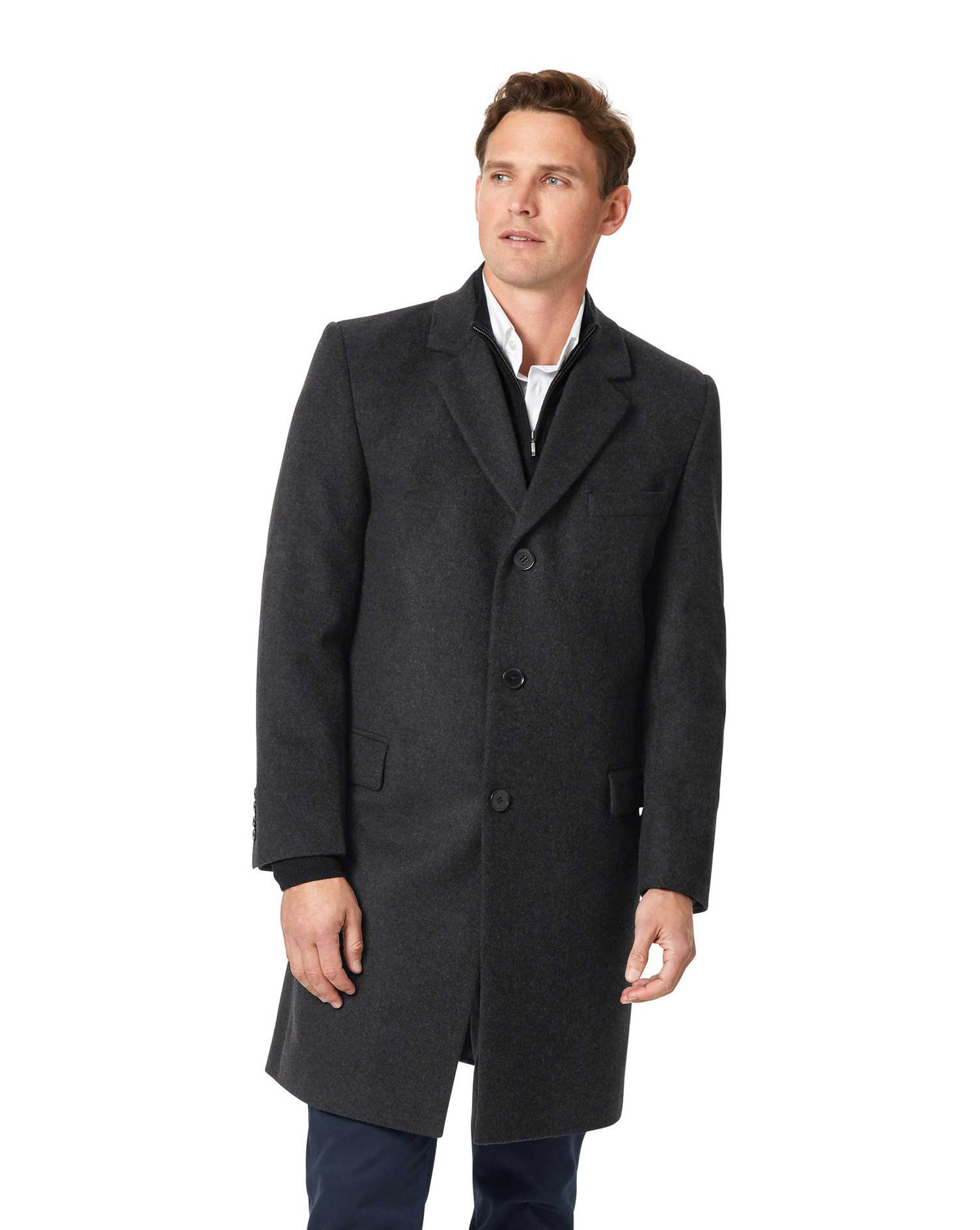 Grey Wool and Cashmere Overcoat Size 46 Regular by Charles Tyrwhitt