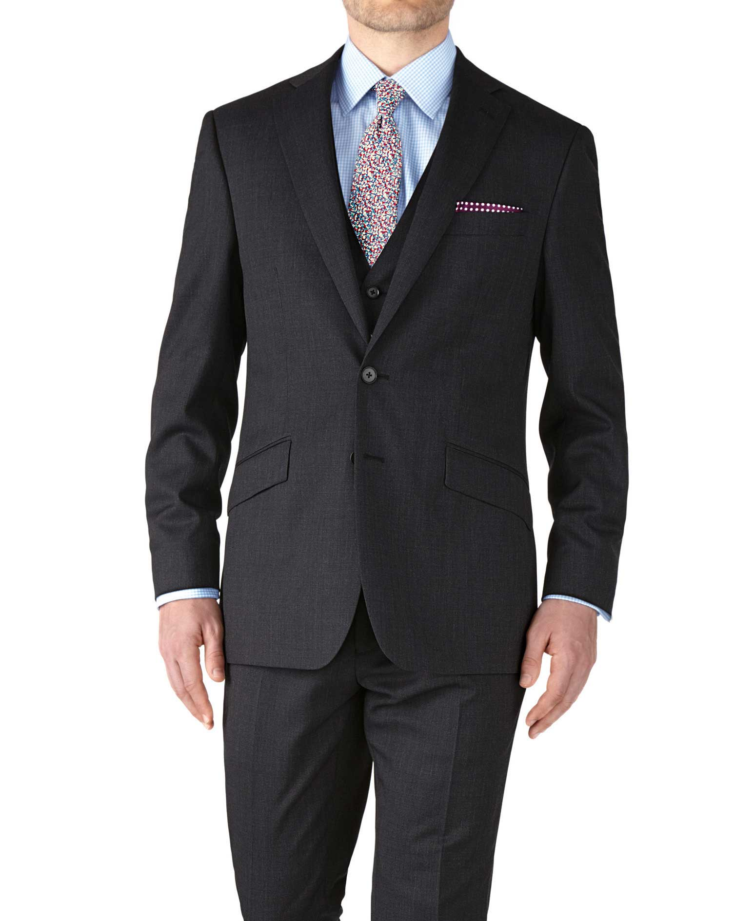 Charcoal Slim Fit End-On-End Business Suit Wool Jacket Size 36 Regular by Charles Tyrwhitt