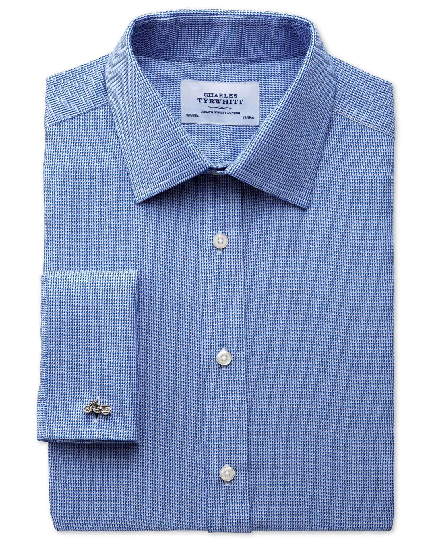 Classic Fit Non-Iron Triangle Textured Royal Blue Cotton Formal Shirt Double Cuff Size 15.5/37 by Ch