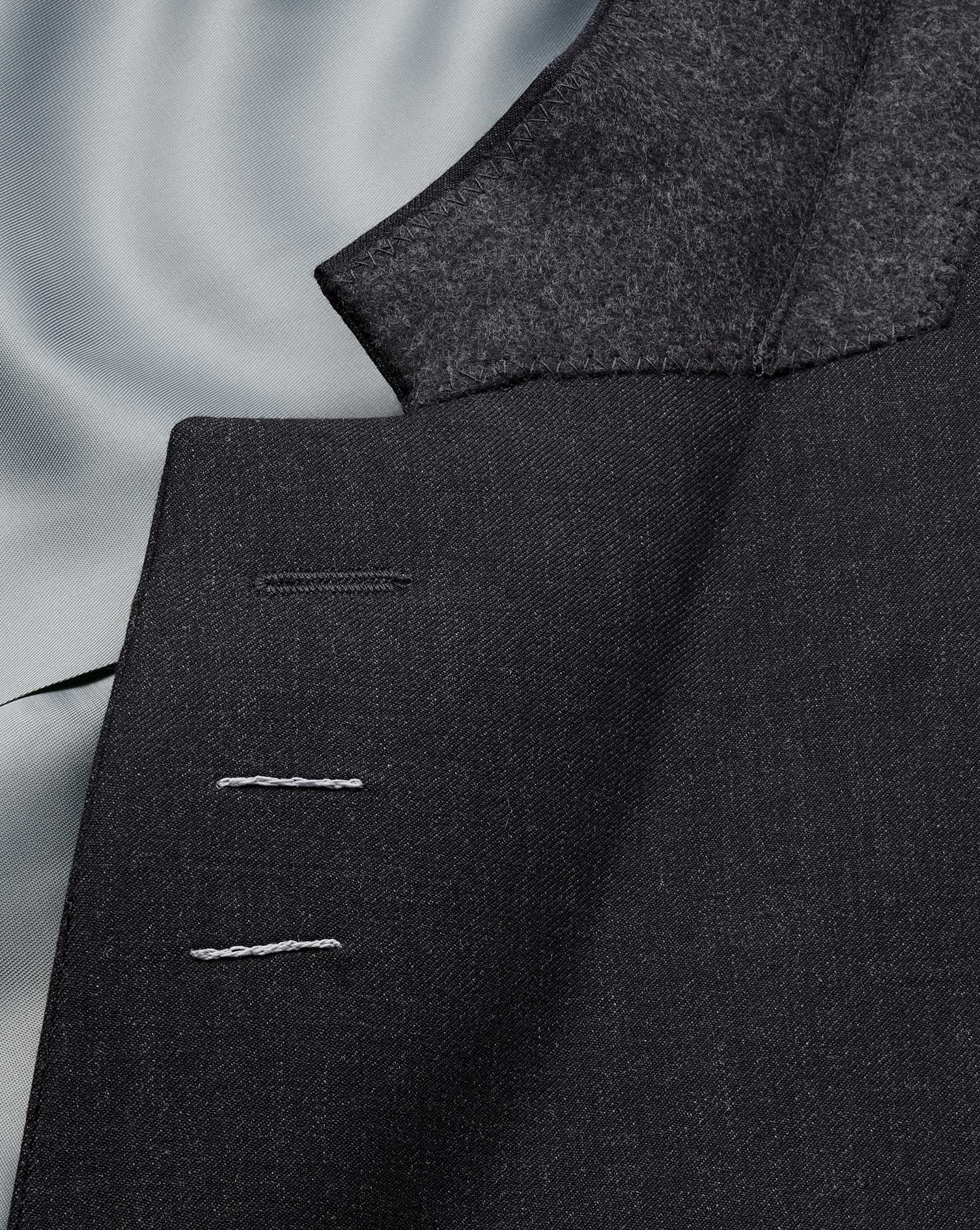 Charcoal classic fit twill business suit jacket
