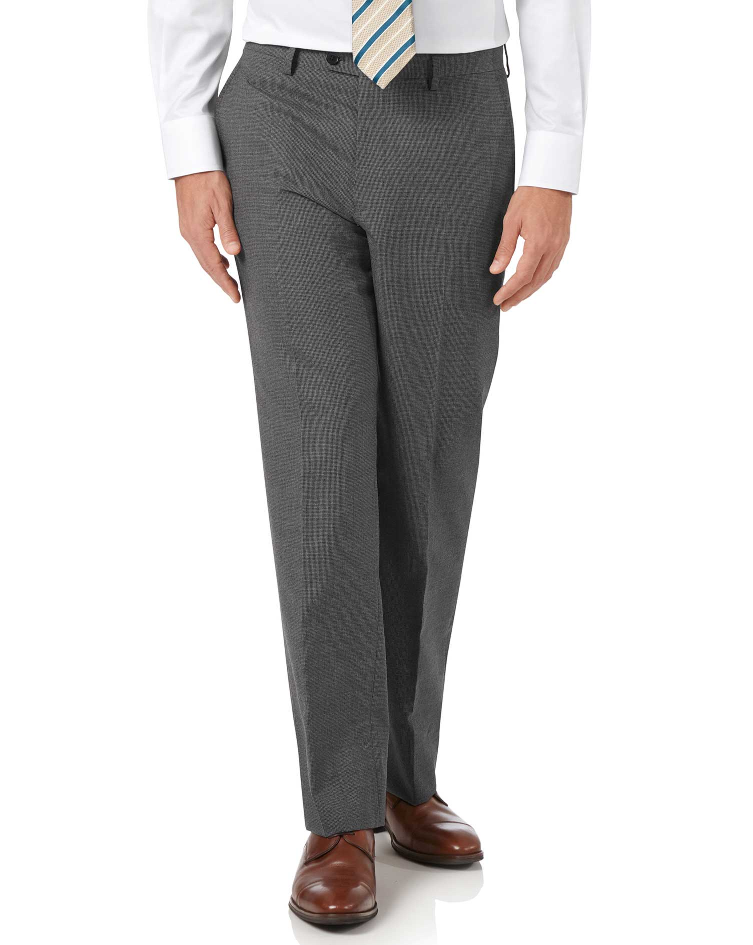 Charcoal classic fit Panama puppytooth business suit pants