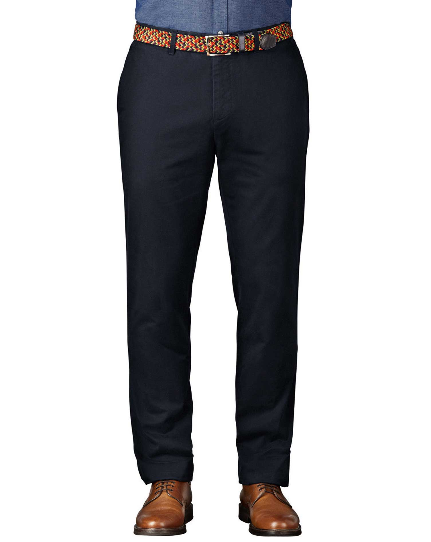Navy Extra Slim Fit Flat Front Cotton Chino Trousers Size W38 L38 by Charles Tyrwhitt