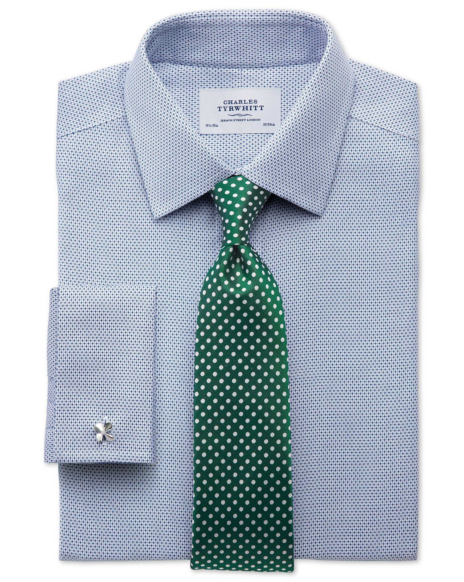 Extra slim fit non iron imperial weave blue shirt for Slim fit non iron shirts