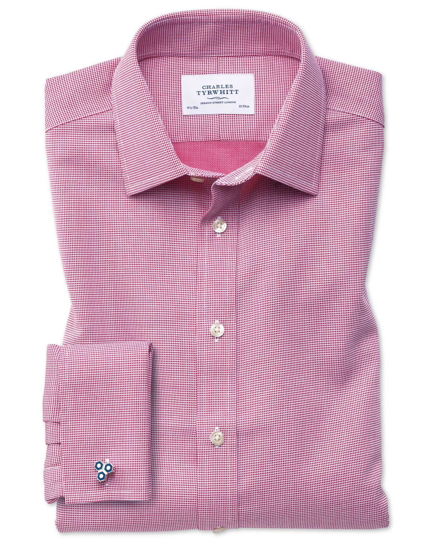 Extra Slim Fit Non-Iron Square Weave Magenta Cotton Formal Shirt Double Cuff Size 16.5/35 by Charles