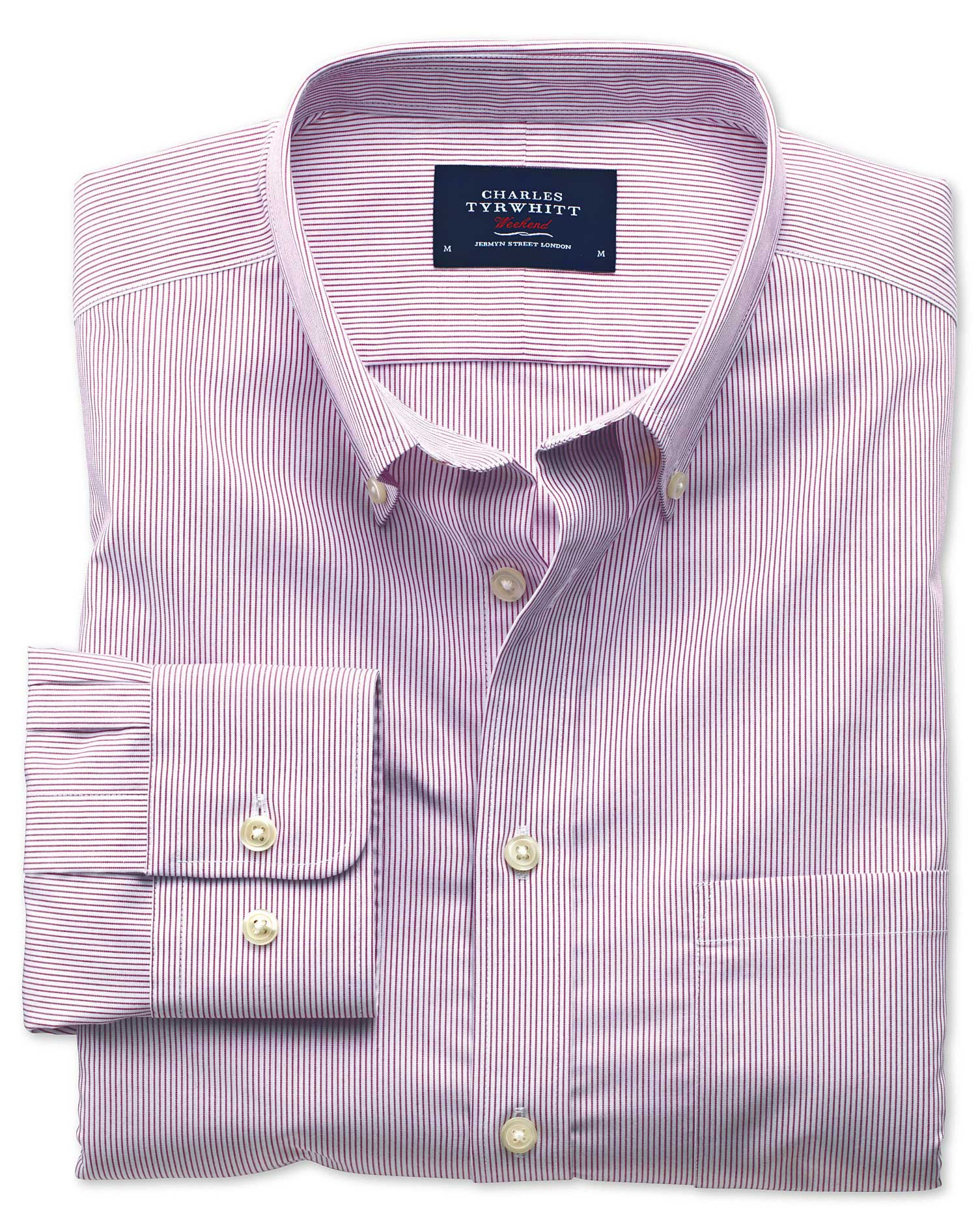 Extra Slim Fit Non-Iron Poplin Berry Stripe Cotton Shirt Single Cuff Size XS by Charles Tyrwhitt