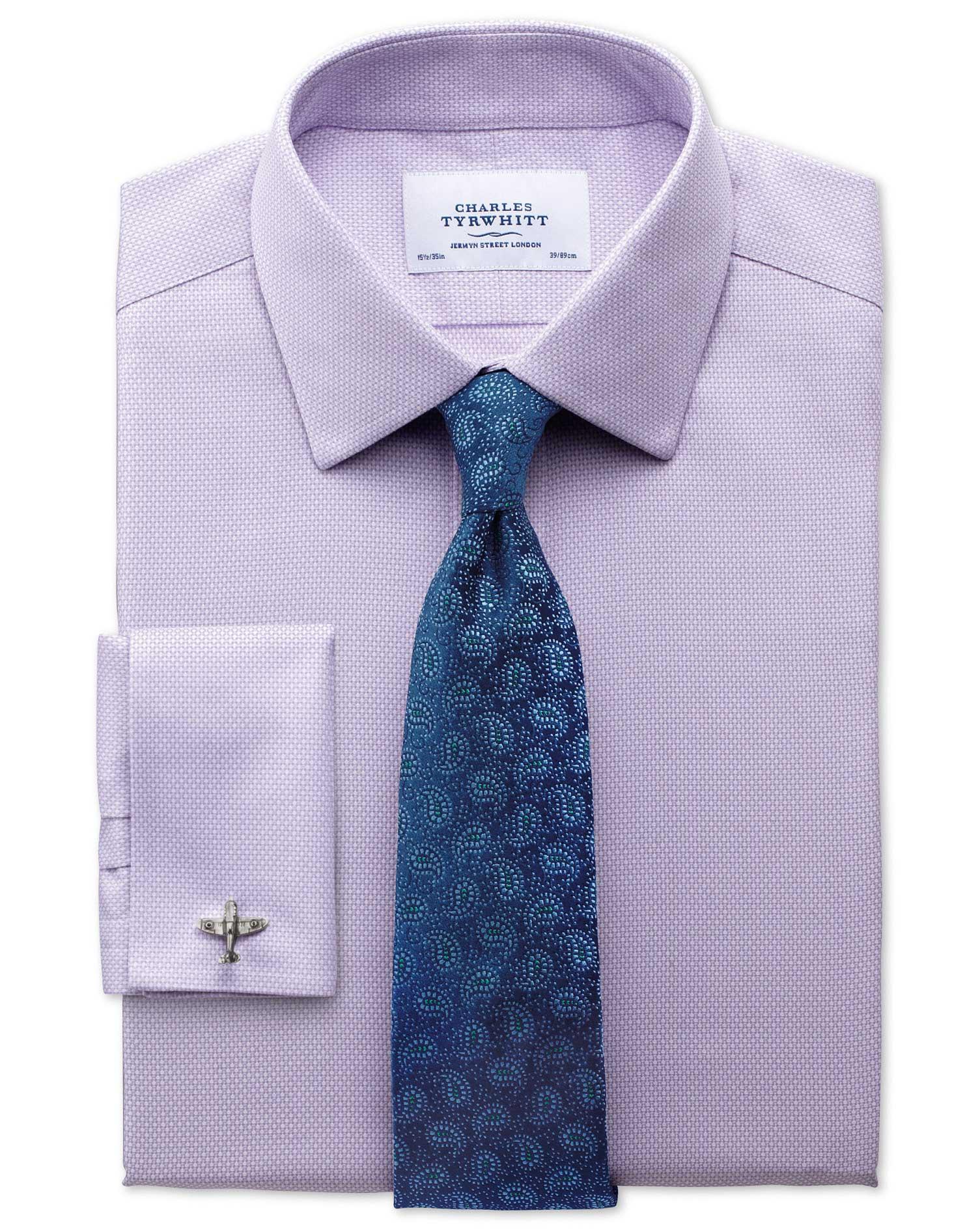 Classic Fit Non Iron Honeycomb Lilac Shirt Charles Tyrwhitt