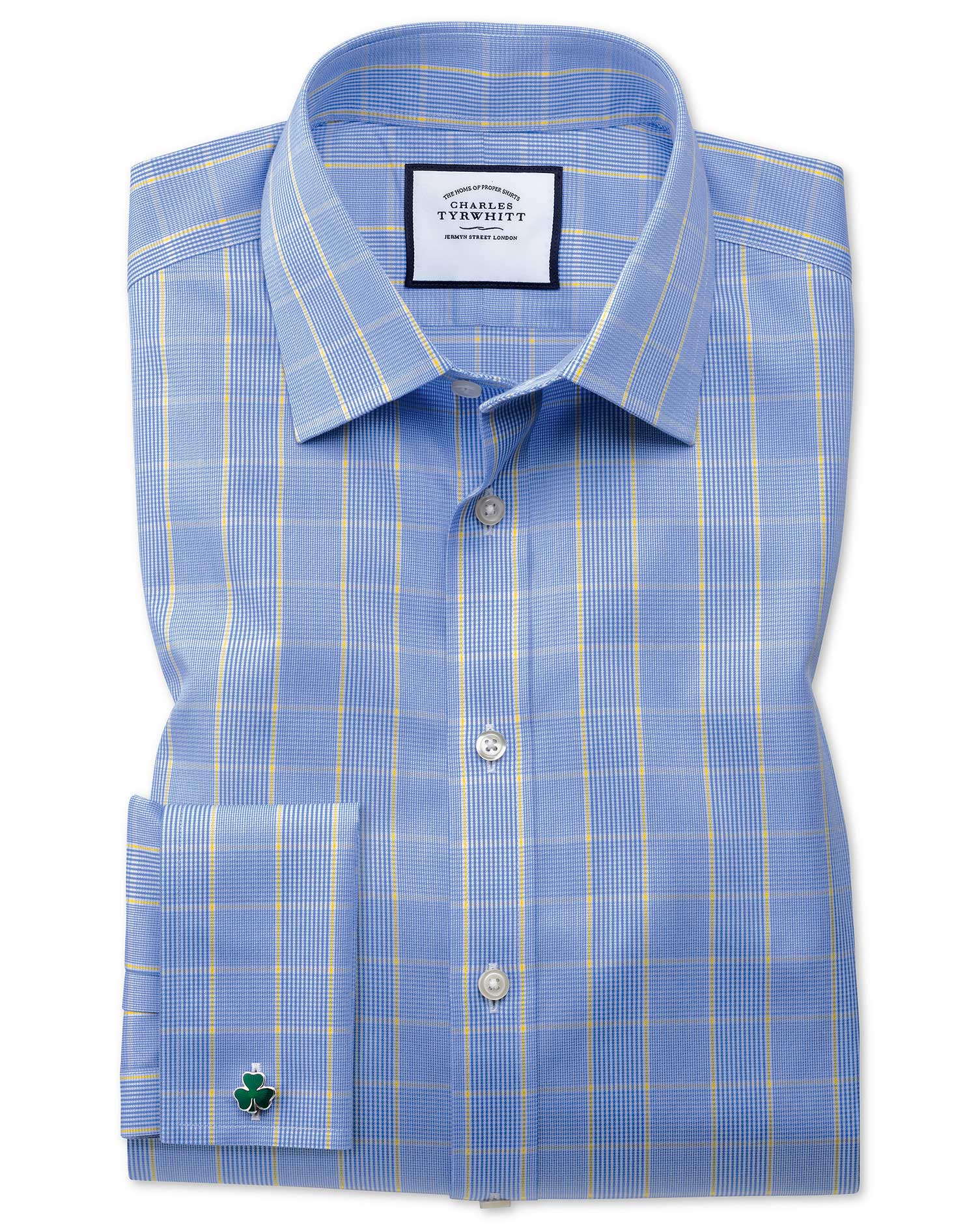 Slim Fit Non-Iron Prince Of Wales Blue and Gold Cotton Formal Shirt Double Cuff Size 17.5/35 by Char