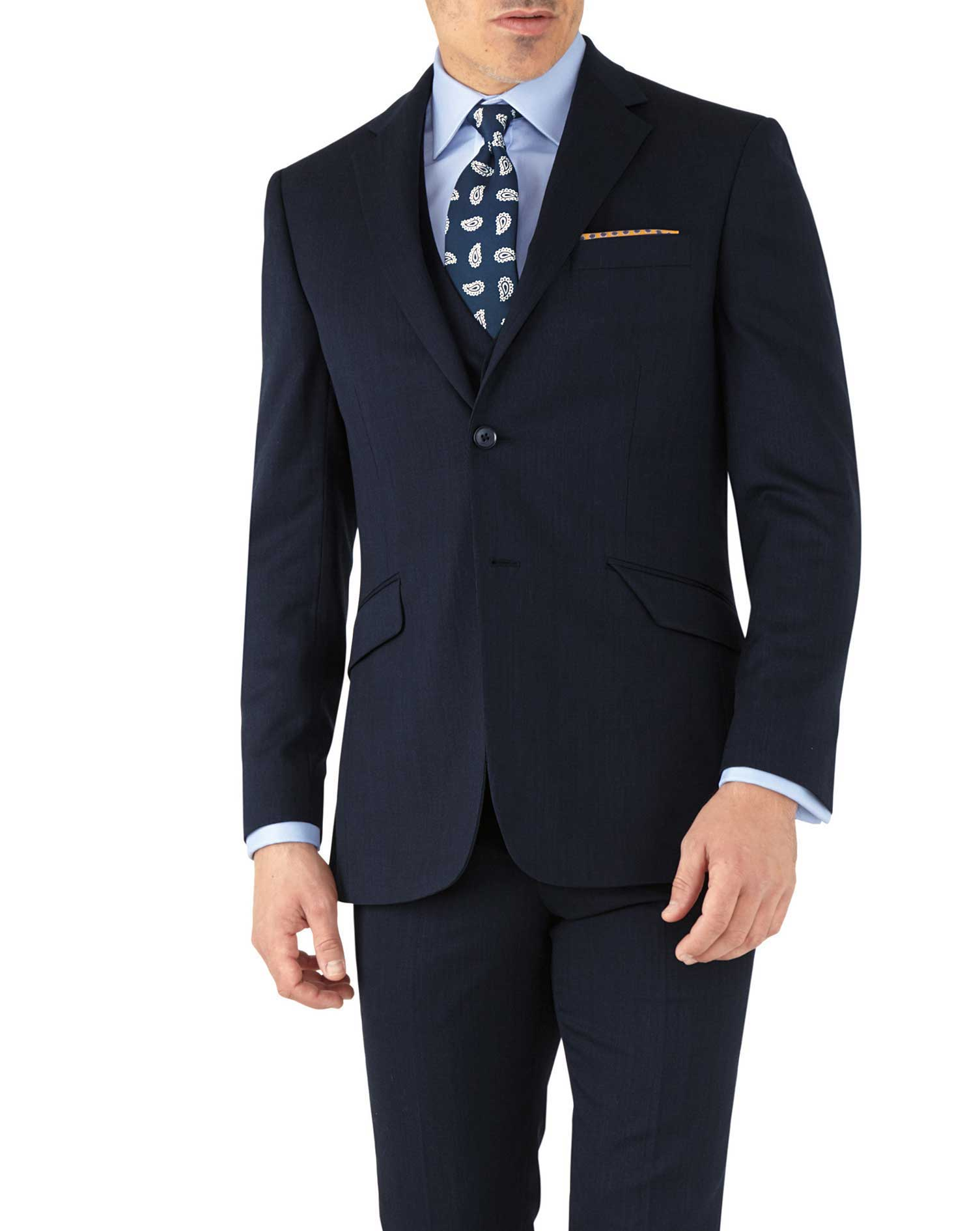 Navy slim fit hairline business suit jacket