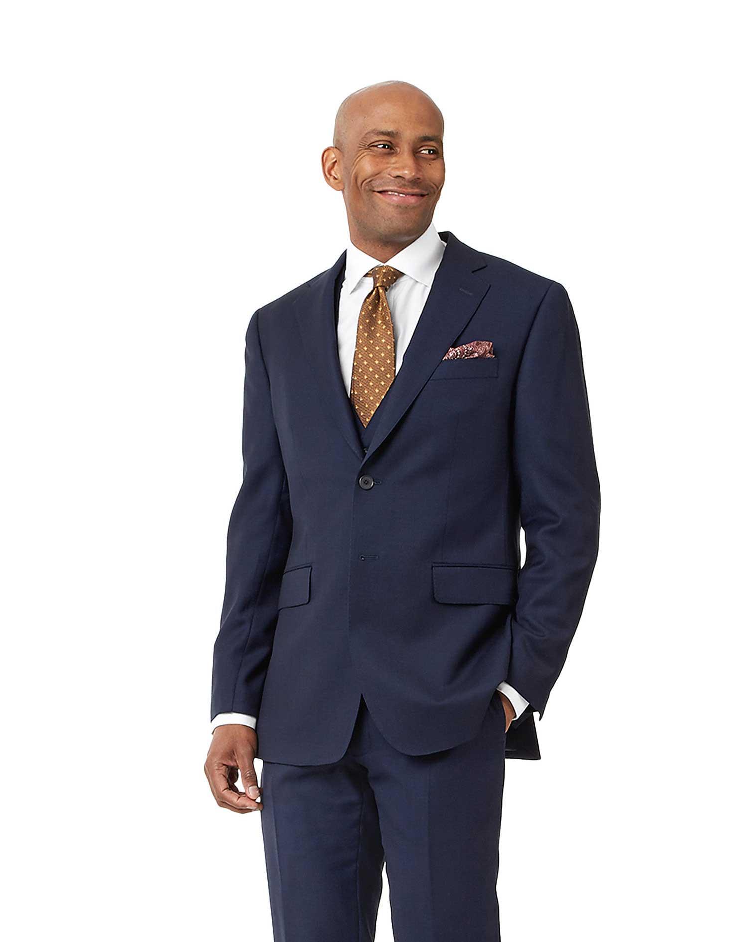 Navy Slim Fit Birdseye Travel Suit Wool Jacket Size 46 Regular by Charles Tyrwhitt