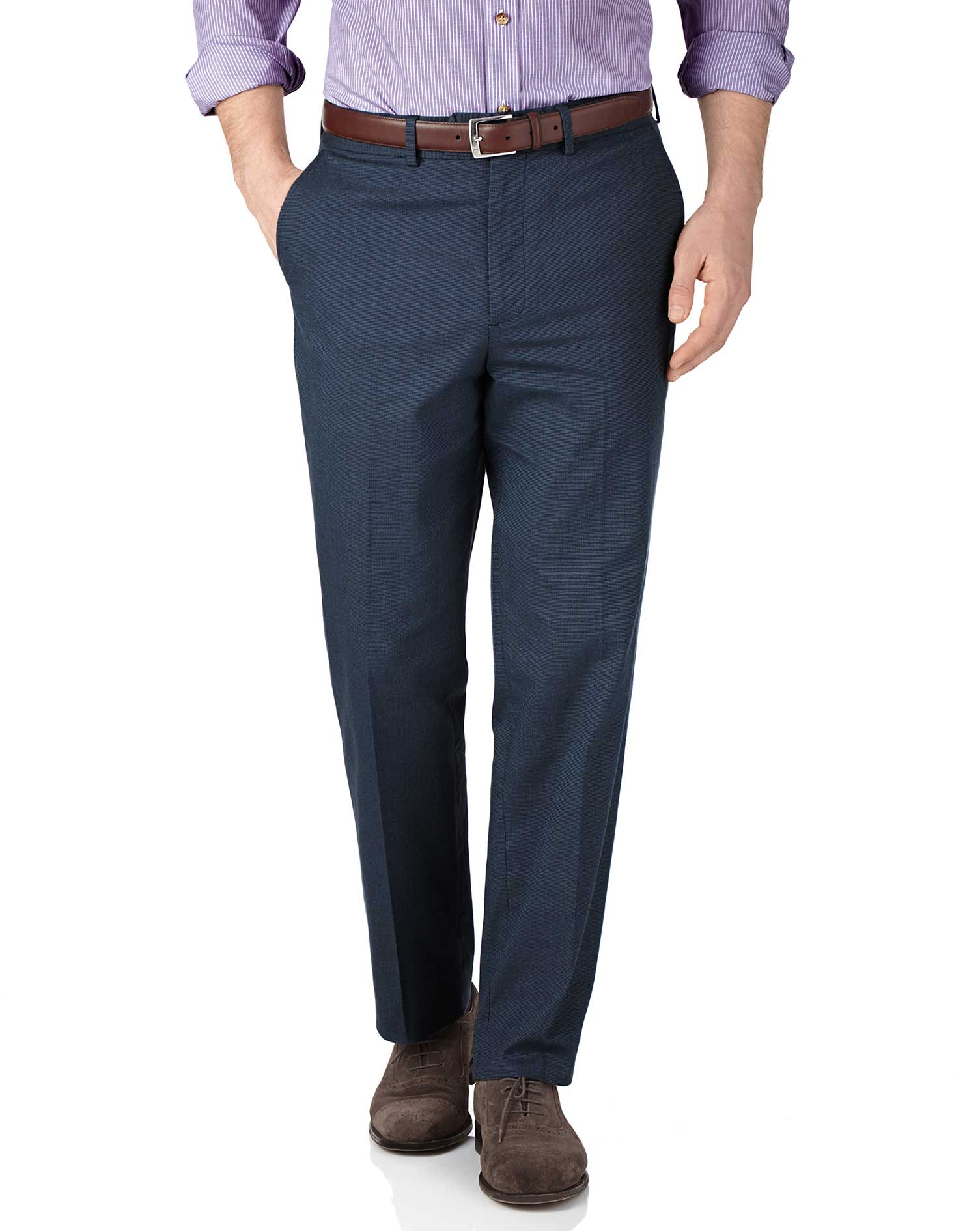 Blue Classic Fit Pin Dot Trousers Size W38 L30 by Charles Tyrwhitt