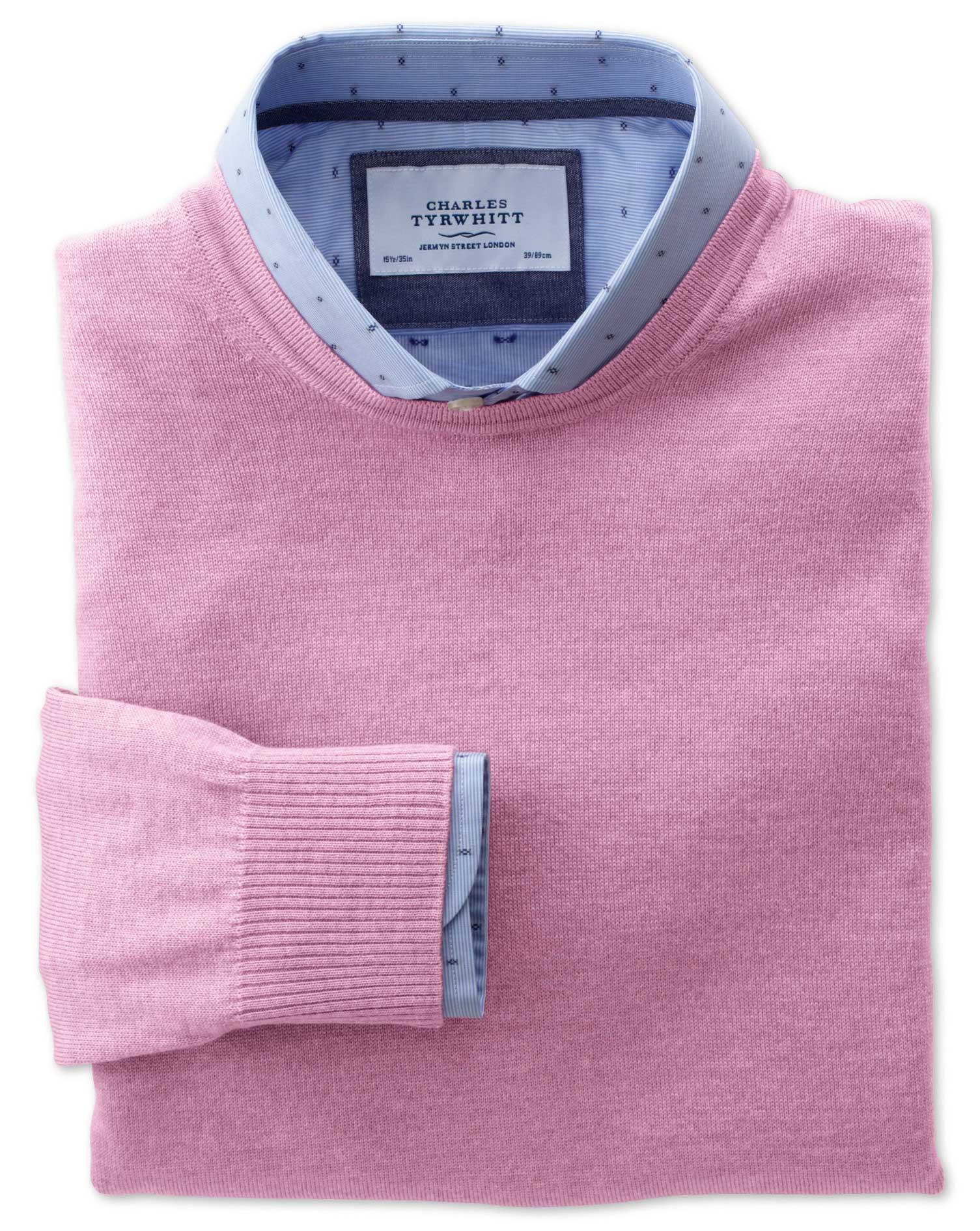 Light Pink Merino Wool Crew Neck Jumper Size Medium by Charles Tyrwhitt