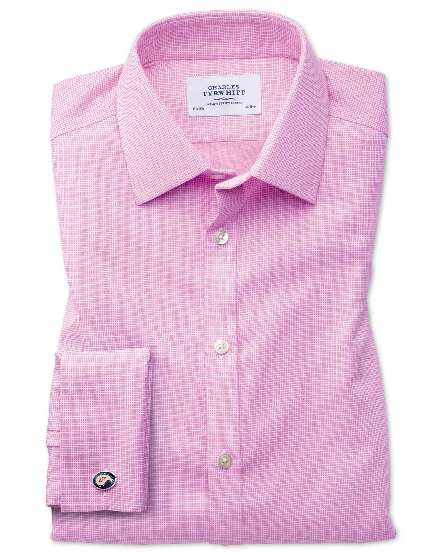 Extra Slim Fit Non-Iron Square Weave Pink Cotton Formal Shirt Double Cuff Size 15/35 by Charles Tyrw