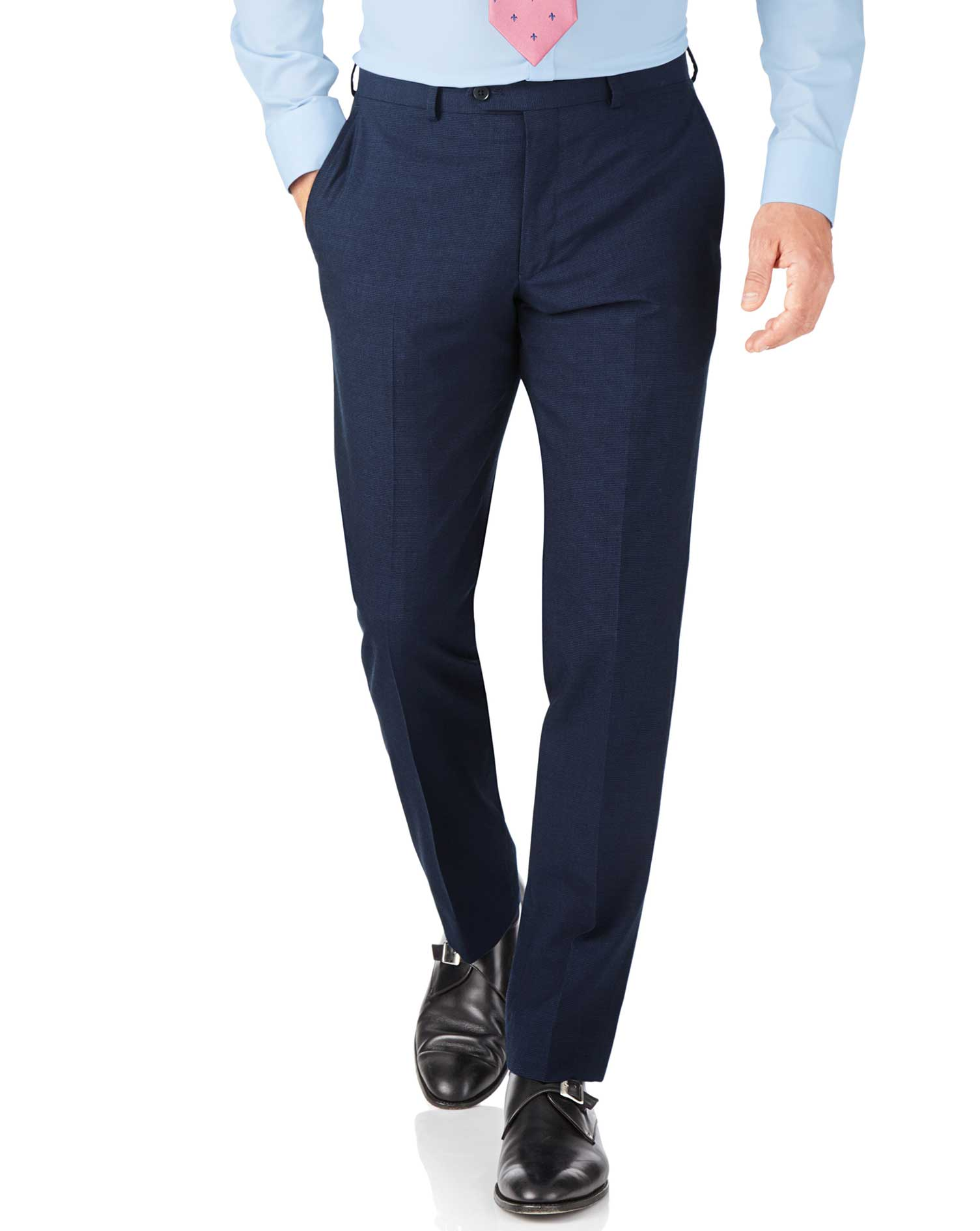 Indigo blue puppytooth slim fit Panama business suit pants