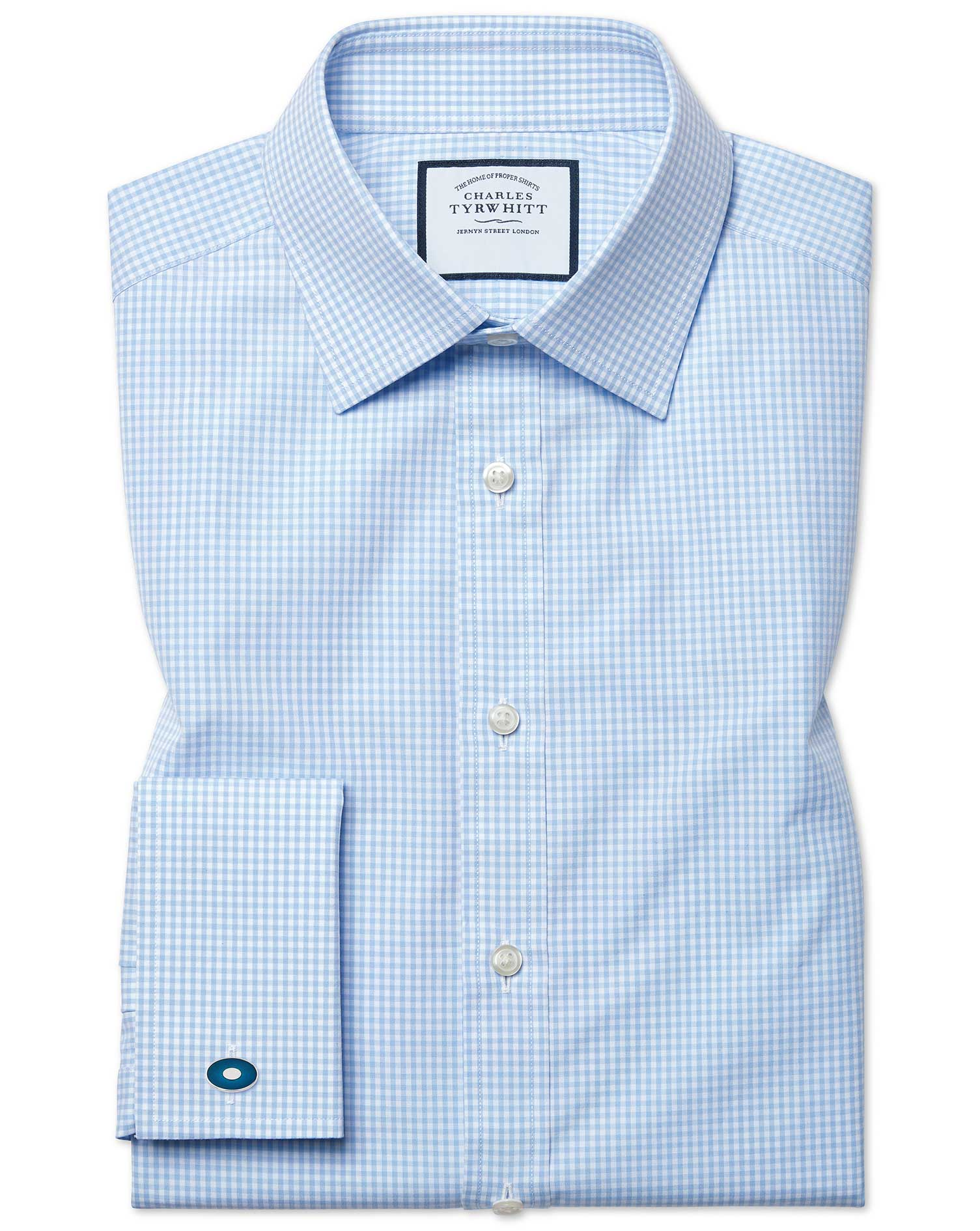 Slim Fit Small Gingham Sky Blue Cotton Formal Shirt Double Cuff Size 16.5/35 by Charles Tyrwhitt