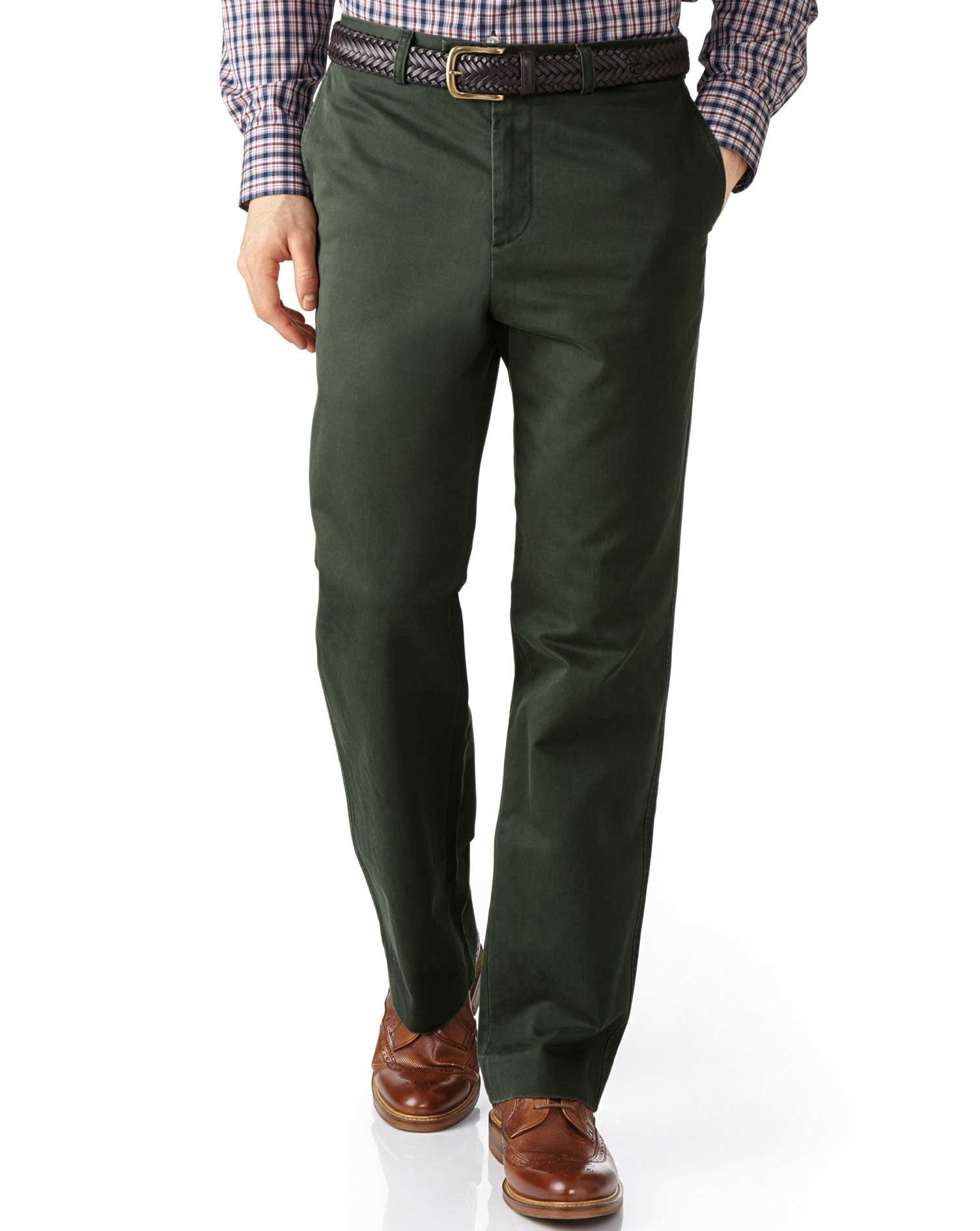 Dark Green Classic Fit Flat Front Weekend Cotton Chino Trousers Size W32 L38 by Charles Tyrwhitt
