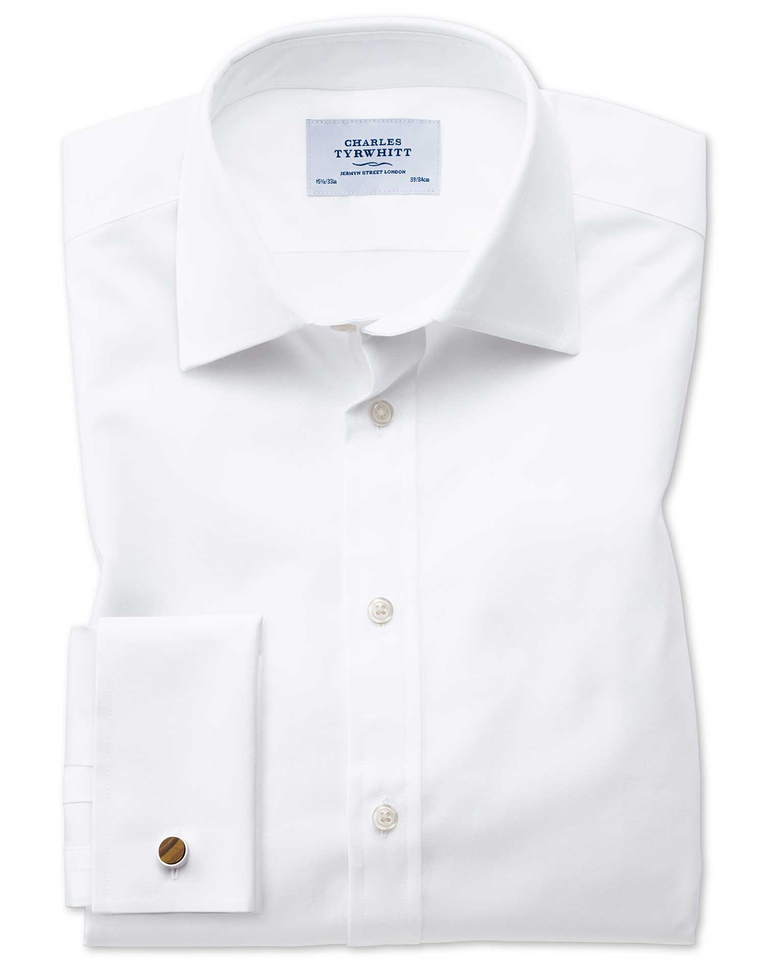 Extra Slim Fit Oxford White Cotton Formal Shirt Double Cuff Size 17/37 by Charles Tyrwhitt