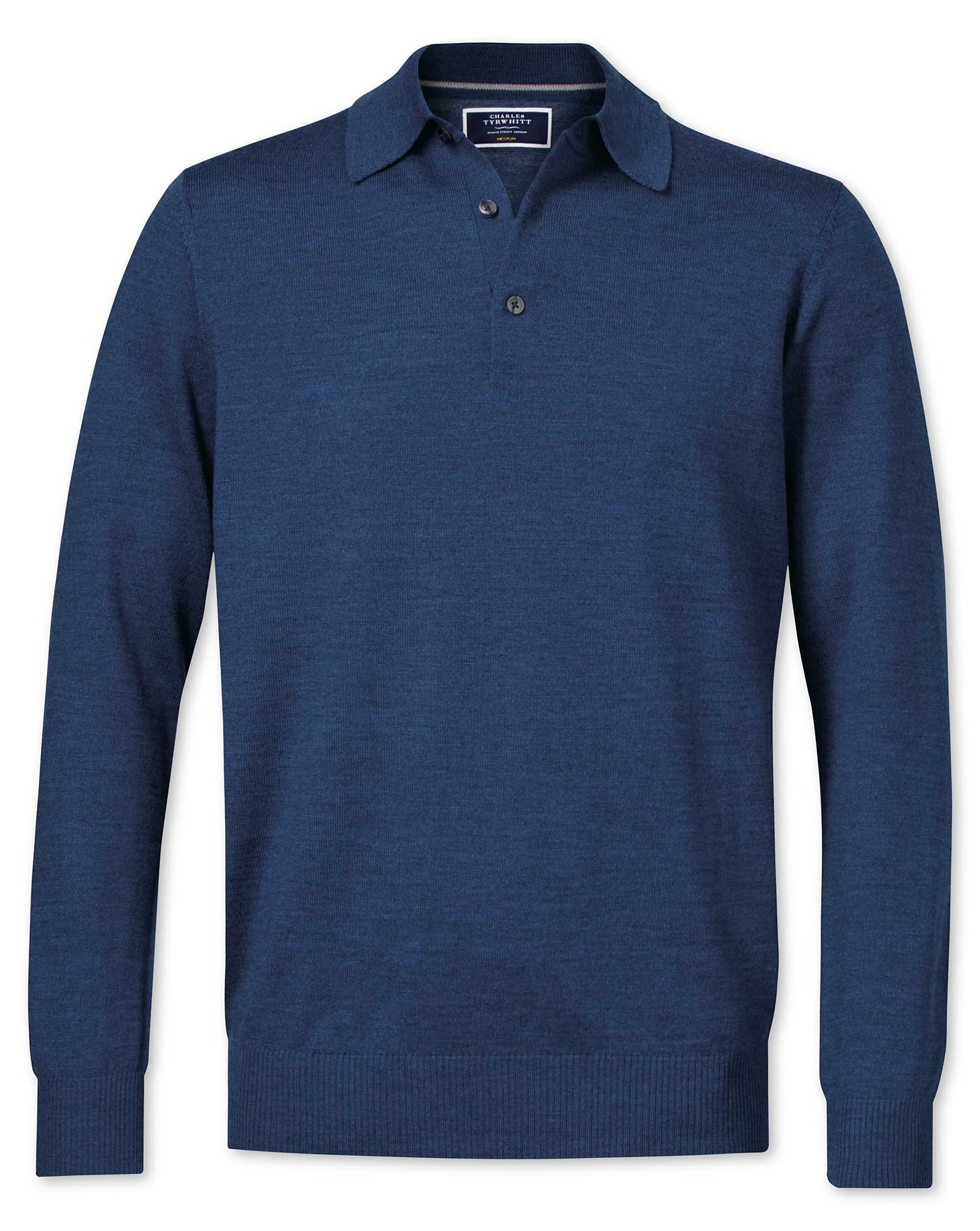 Mid Blue Merino Wool Polo Neck Jumper Size Large by Charles Tyrwhitt