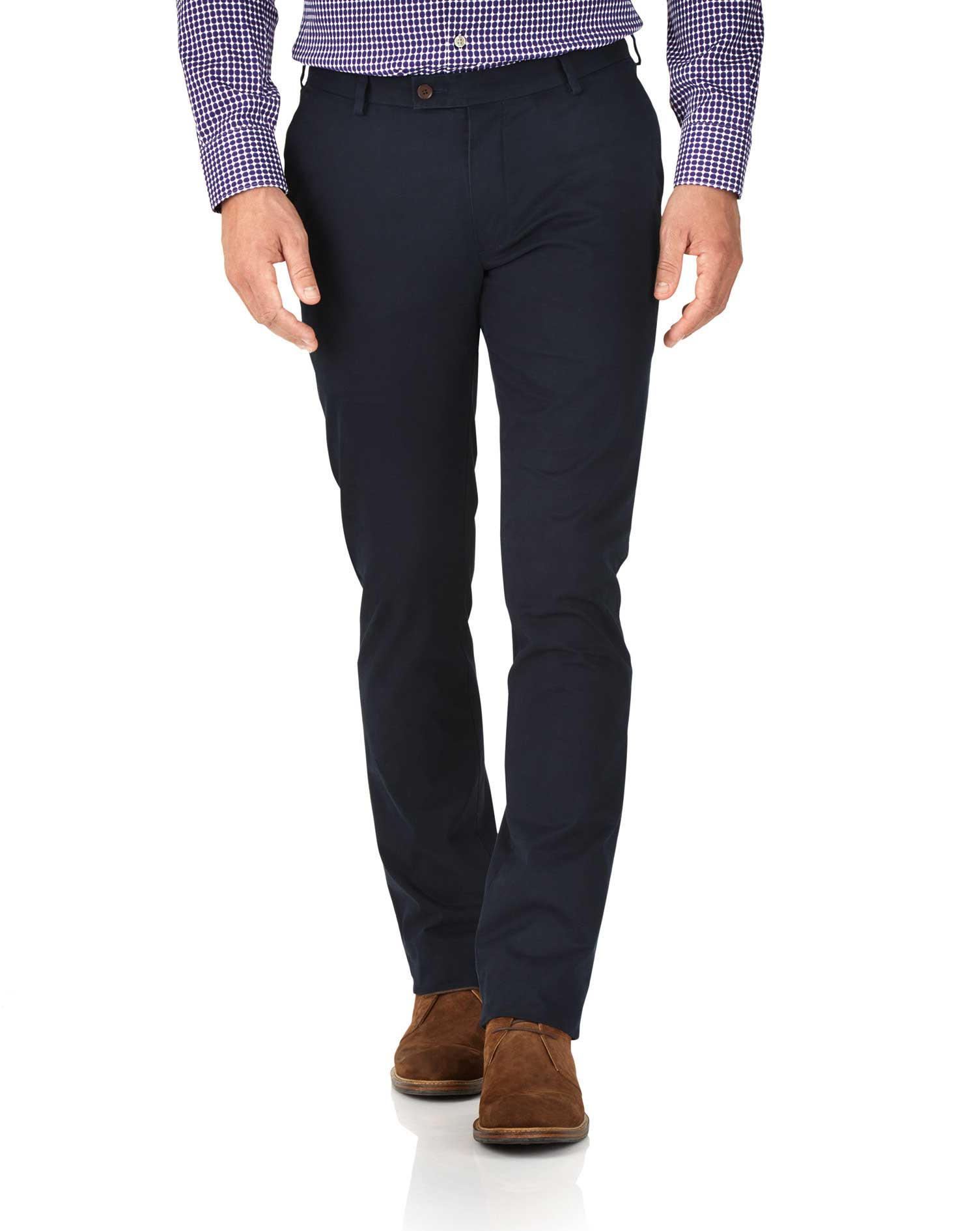 Navy Extra Slim Fit Stretch Cotton Chino Trousers Size W34 L32 by Charles Tyrwhitt