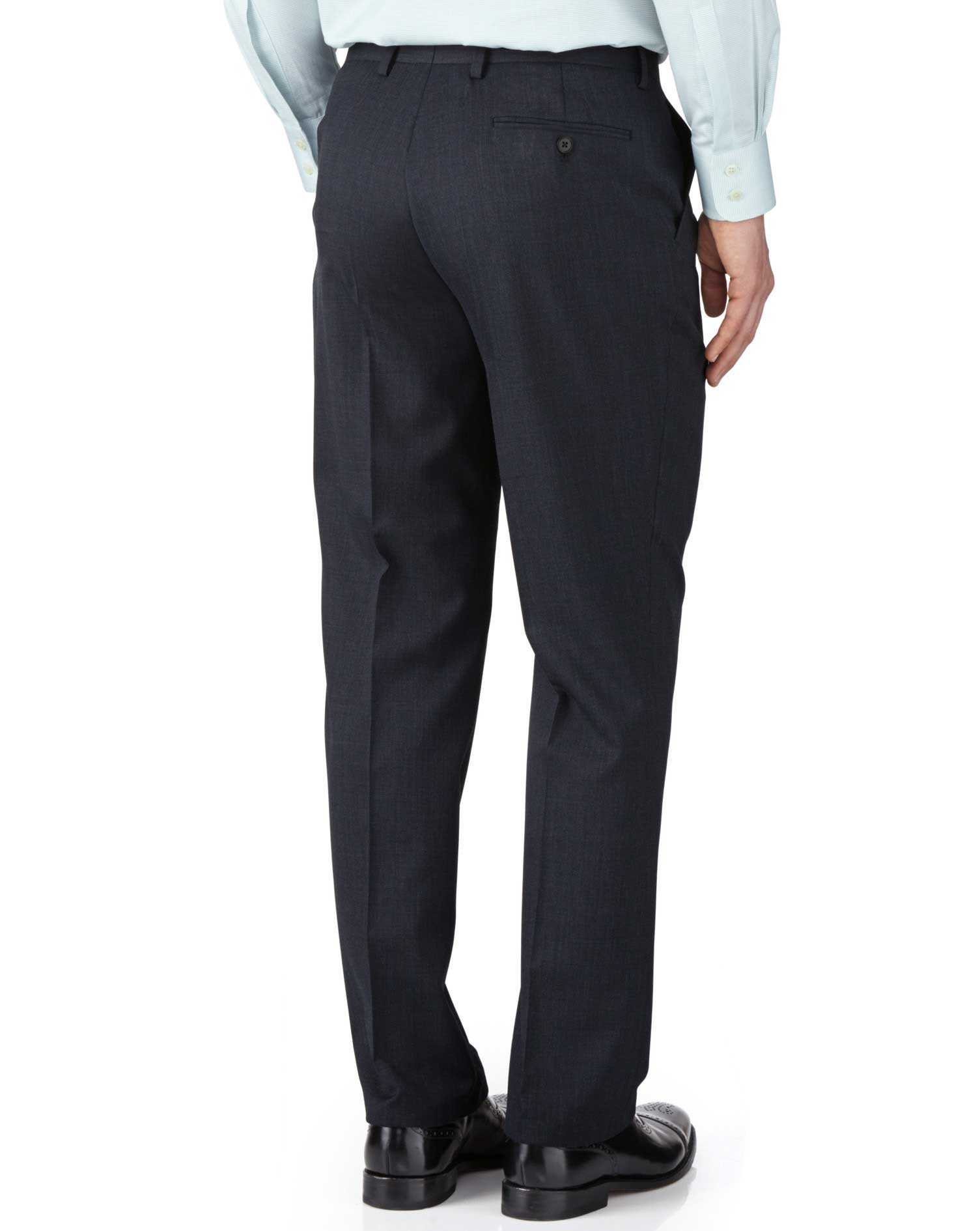Navy classic fit end-on-end business suit pants