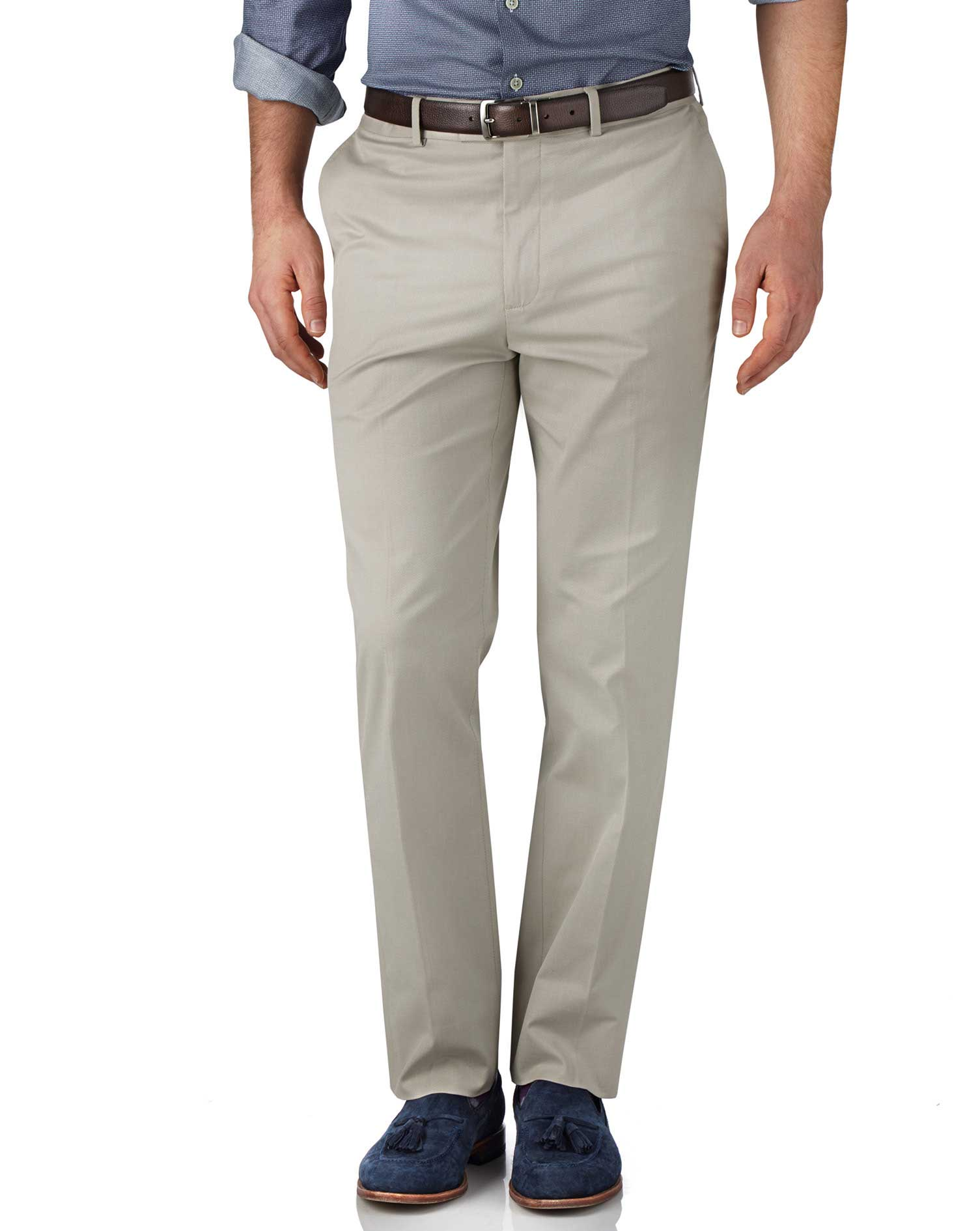 Stone Classic Fit Stretch Cavalry Twill Trousers Size W32 L30 by Charles Tyrwhitt