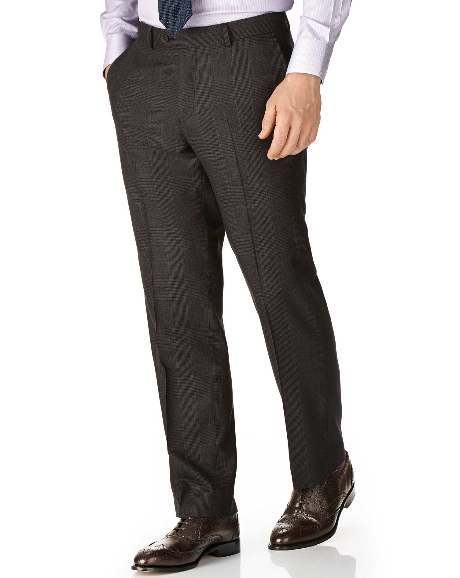 Dark Grey Classic Fit Saxony Business Suit Trousers Size W34 L38 by Charles Tyrwhitt