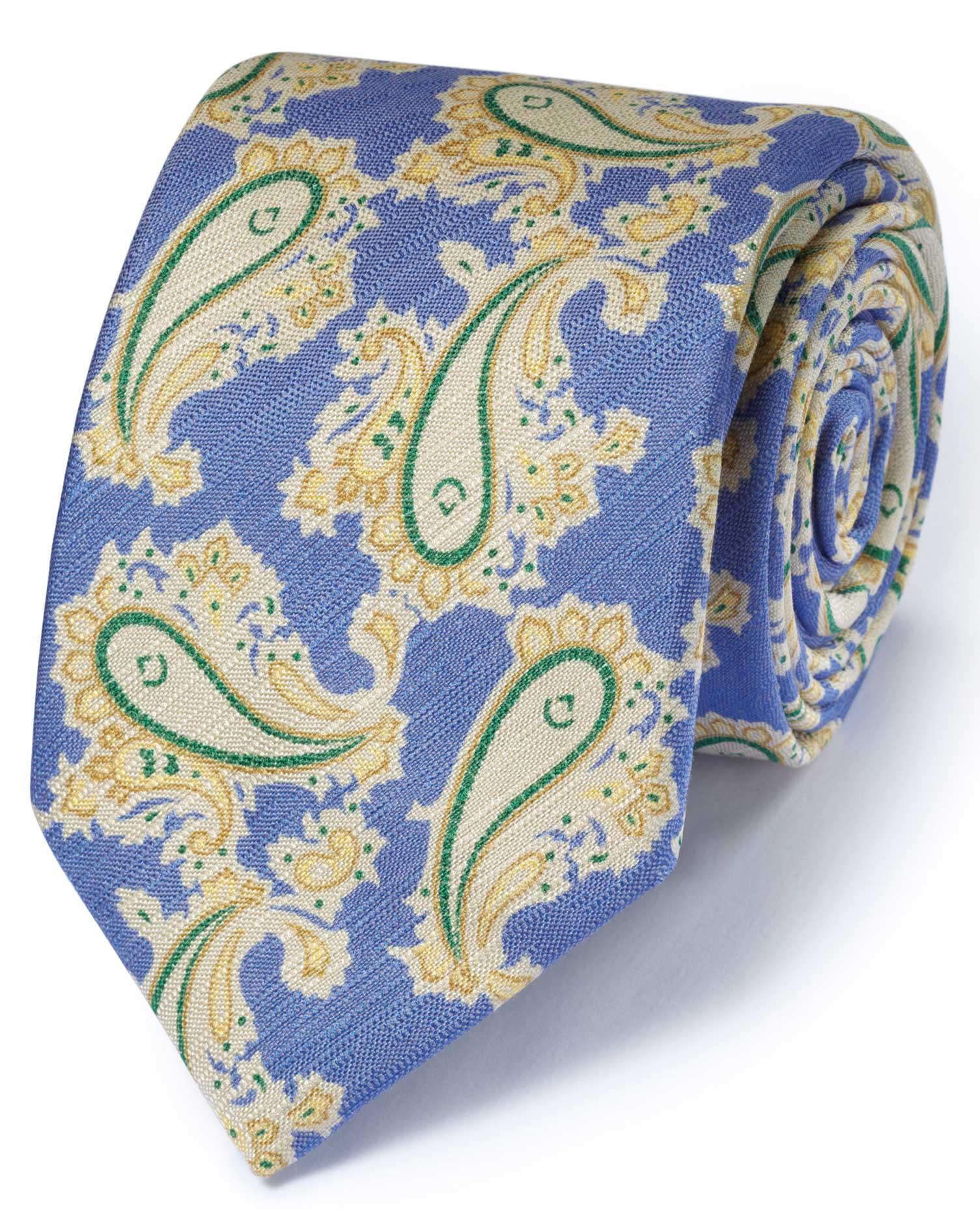 Blue Cotton Mix Printed Paisley Italian Luxury Tie Size OSFA by Charles Tyrwhitt