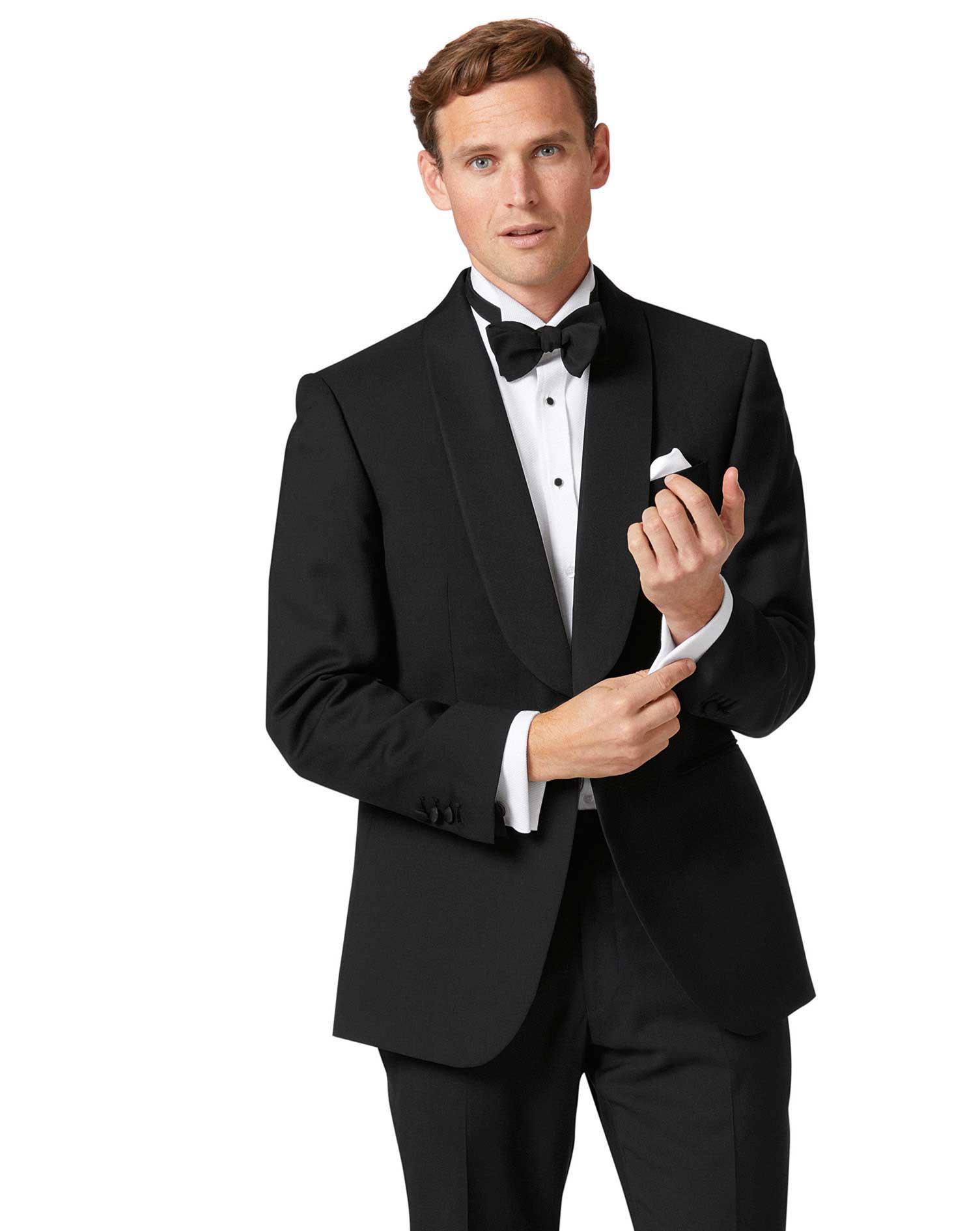 Black Classic Fit Shawl Collar Tuxedo Wool Jacket Size 42 Short by Charles Tyrwhitt