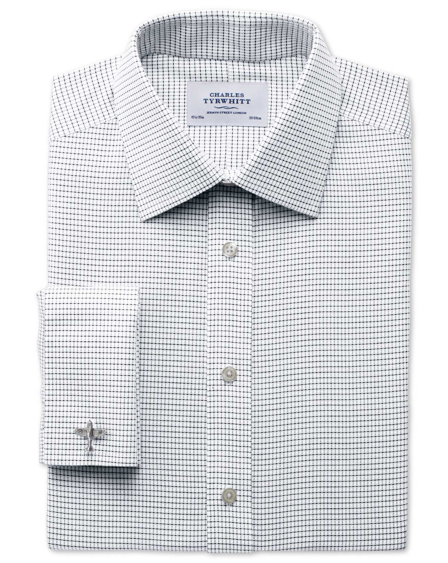 Classic Fit Non-Iron White and Black Cotton Formal Shirt Double Cuff Size 15/35 by Charles Tyrwhitt